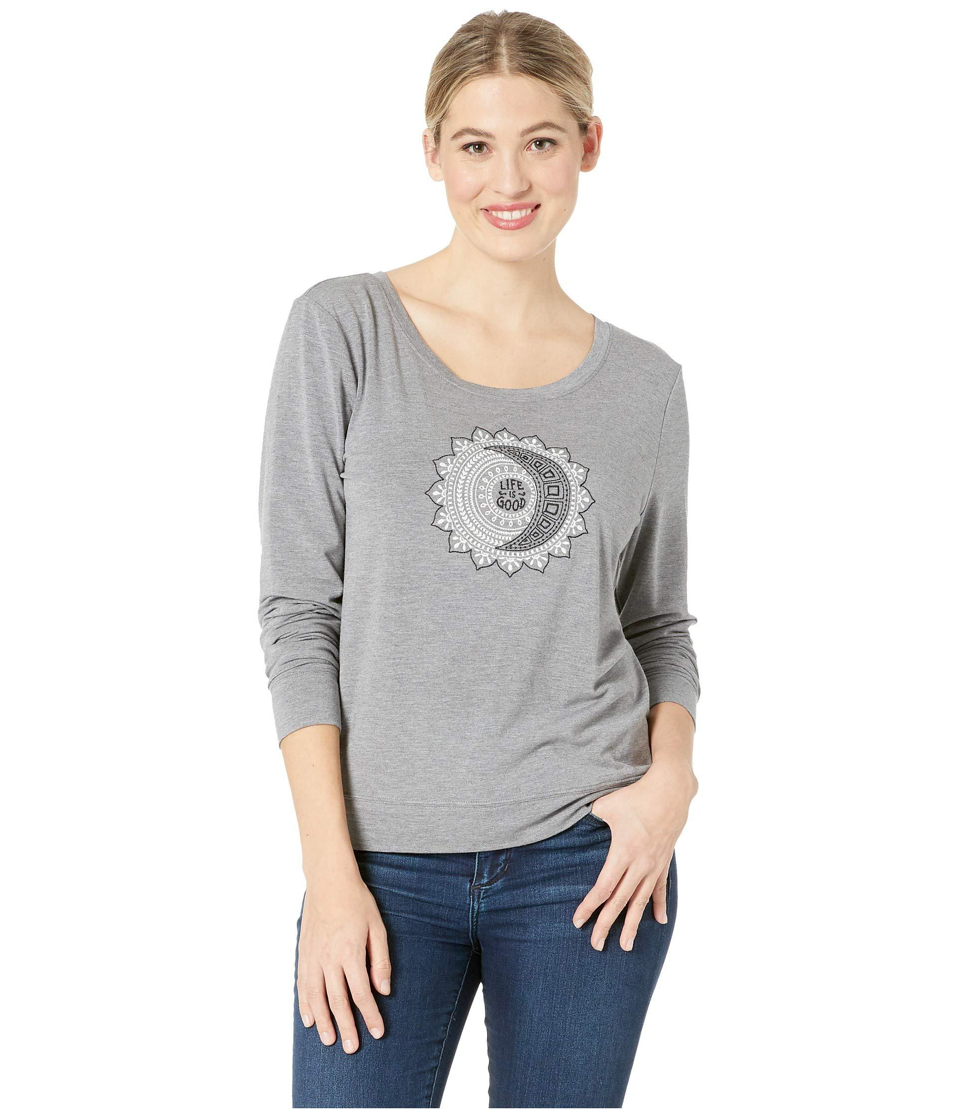 3edc8bbc7accae Lyst - Life Is Good. Supreme Scoop Pullover (heather Gray) Women s T ...