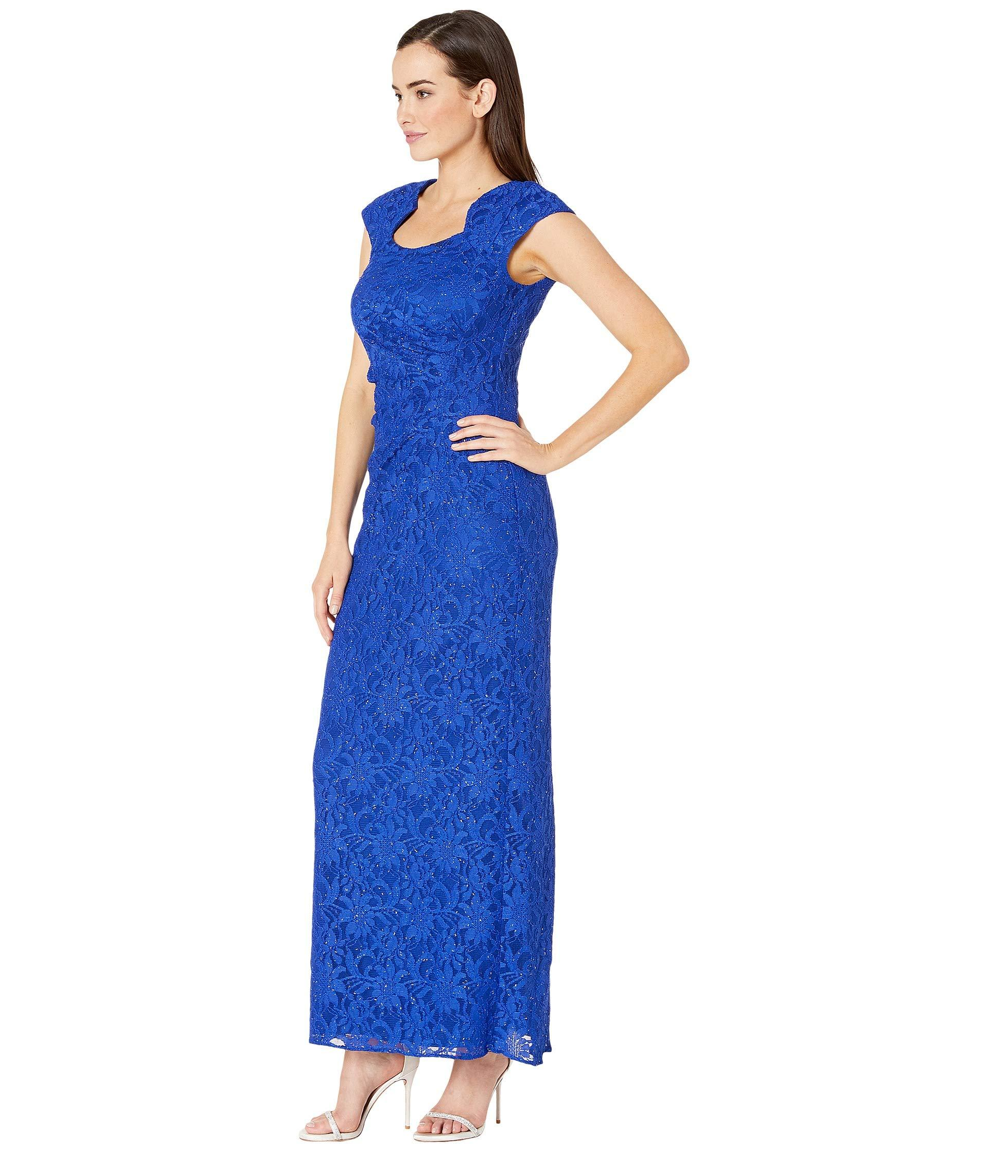4a06aaf8c7e9 Lyst - Tahari Stretch Sequin Lace Cap Sleeve Gown With Horseshoe Neckline  (summer Royal) Women's Dress in Blue