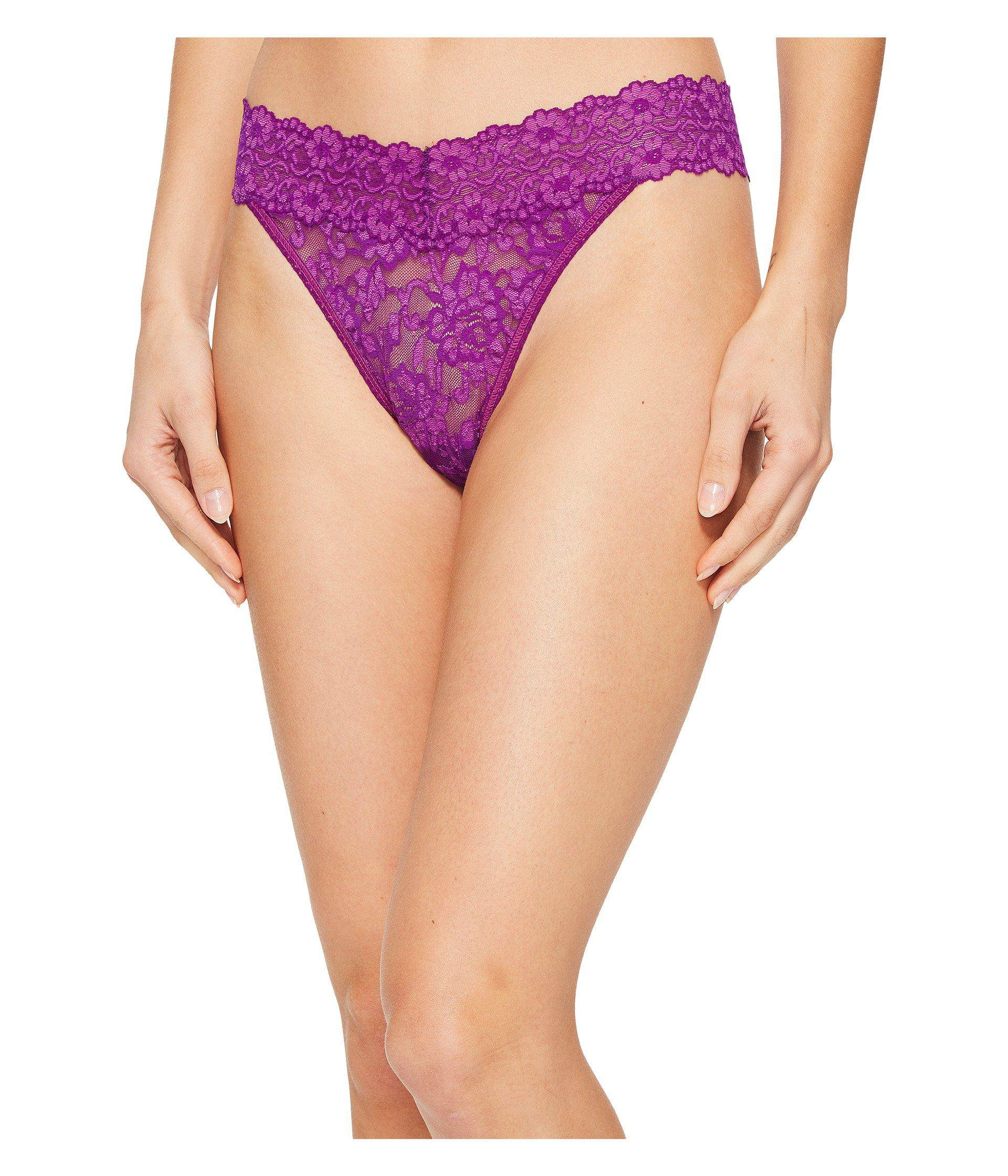 4ce06eb5276 Lyst - Hanky Panky Cross-dyed Signature Lace Original Rise Thong ...