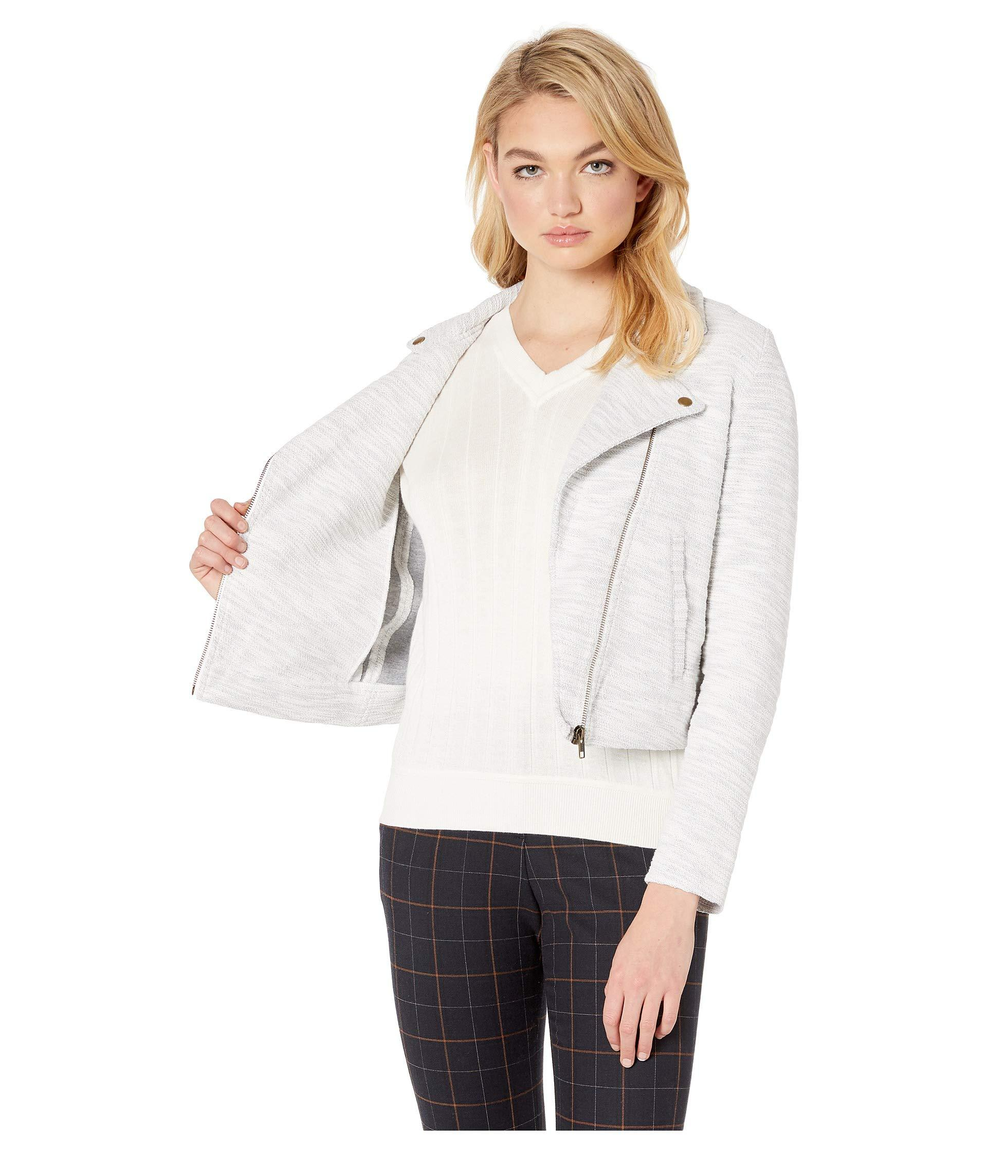 373556532 White Moto Jacket (peony) Women's Coat