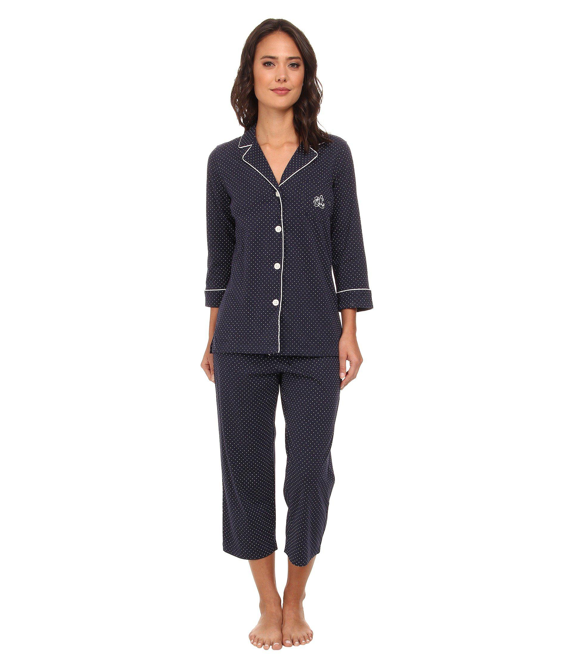 Lyst - Lauren by Ralph Lauren Plus Windsor Pajama Set in Blue 215badf44