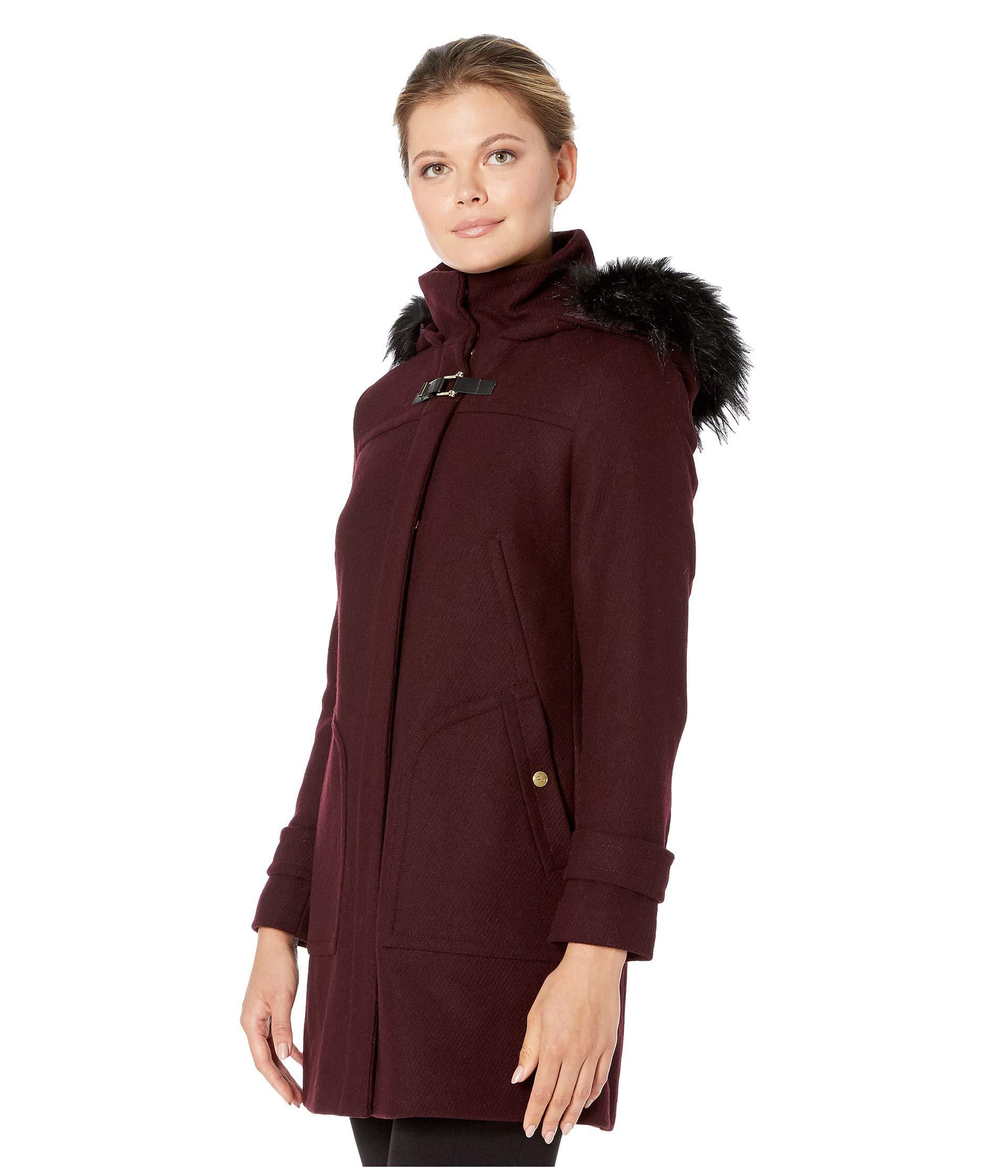 Cole Haan Womens Wool Twill Short Duffel Coat