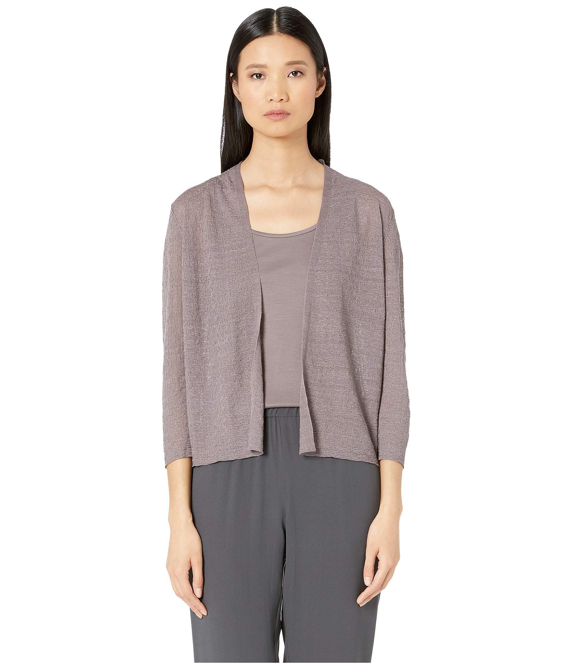 b8a6fa9d9918a9 Eileen Fisher Short 3/4 Sleeve Cardigan (luna) Women's Clothing - Lyst