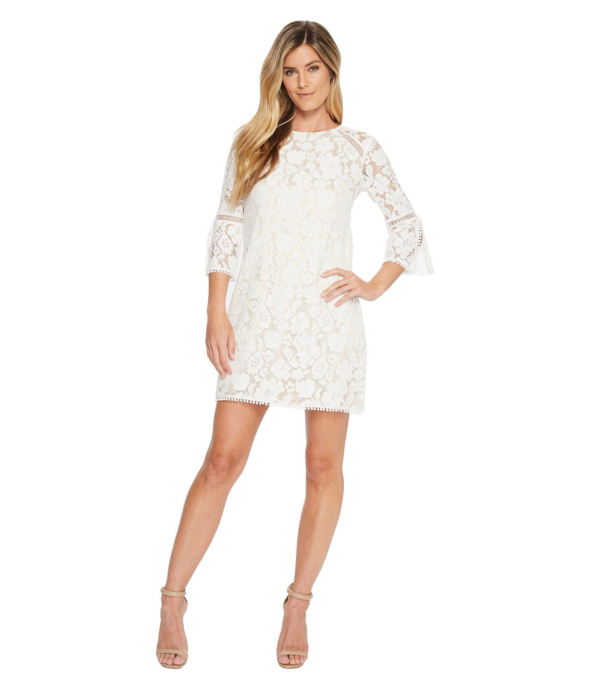 Lace T Body Shift Dress With 34 Sleeve Ivory Womens Dress