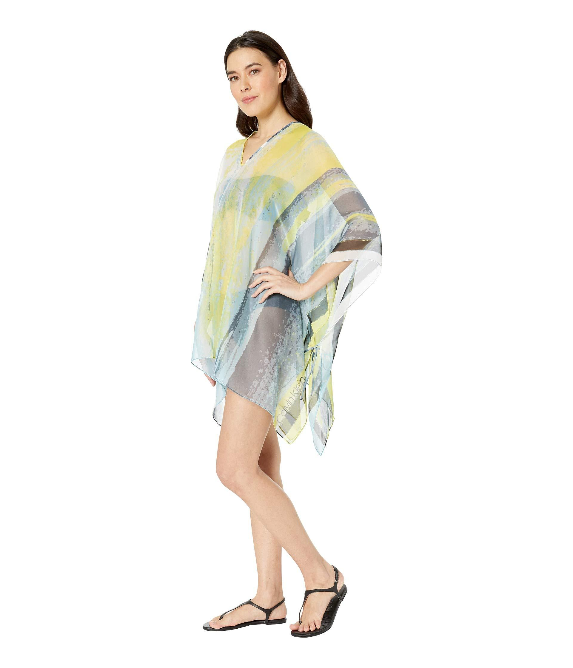 98b8099b80 Calvin Klein Abstract Cloud Chiffon Poncho Cover-up Top (lime ...