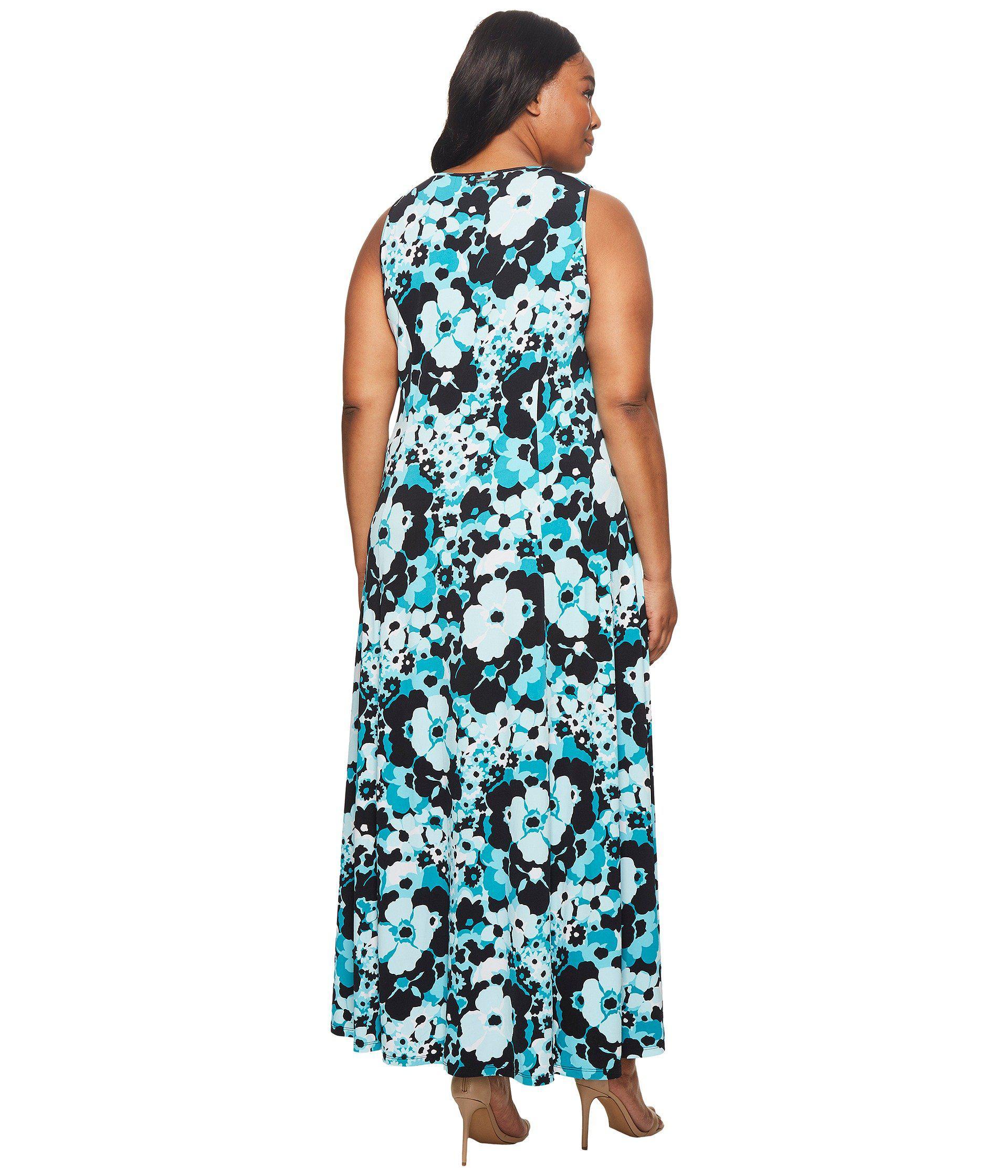 Plus Size Spring Floral Maxi Tank Dress (tile Blue/black Multi) Dress