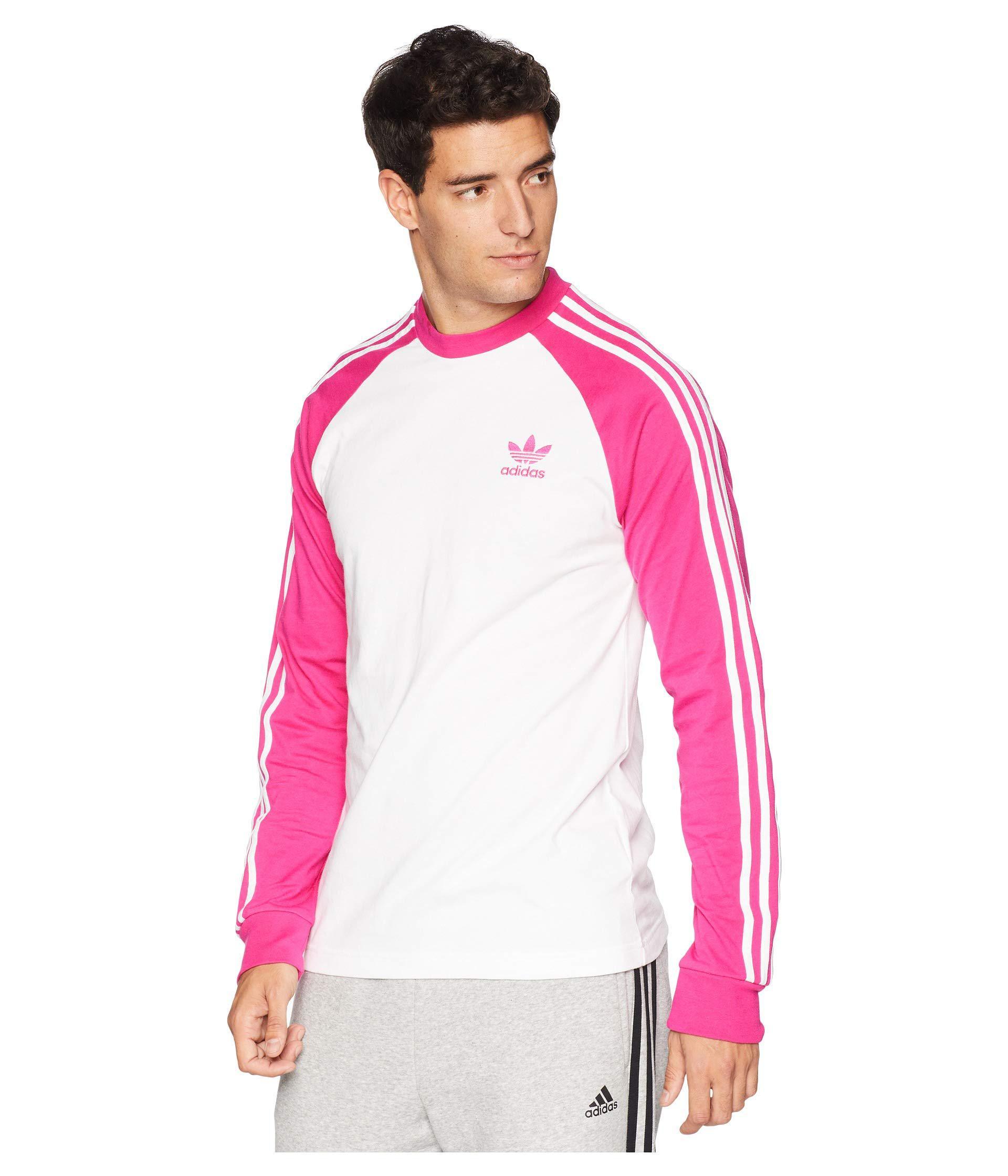 1096261e6 adidas Originals 3-stripes Long Sleeve Tee (shock Pink) Men s T ...