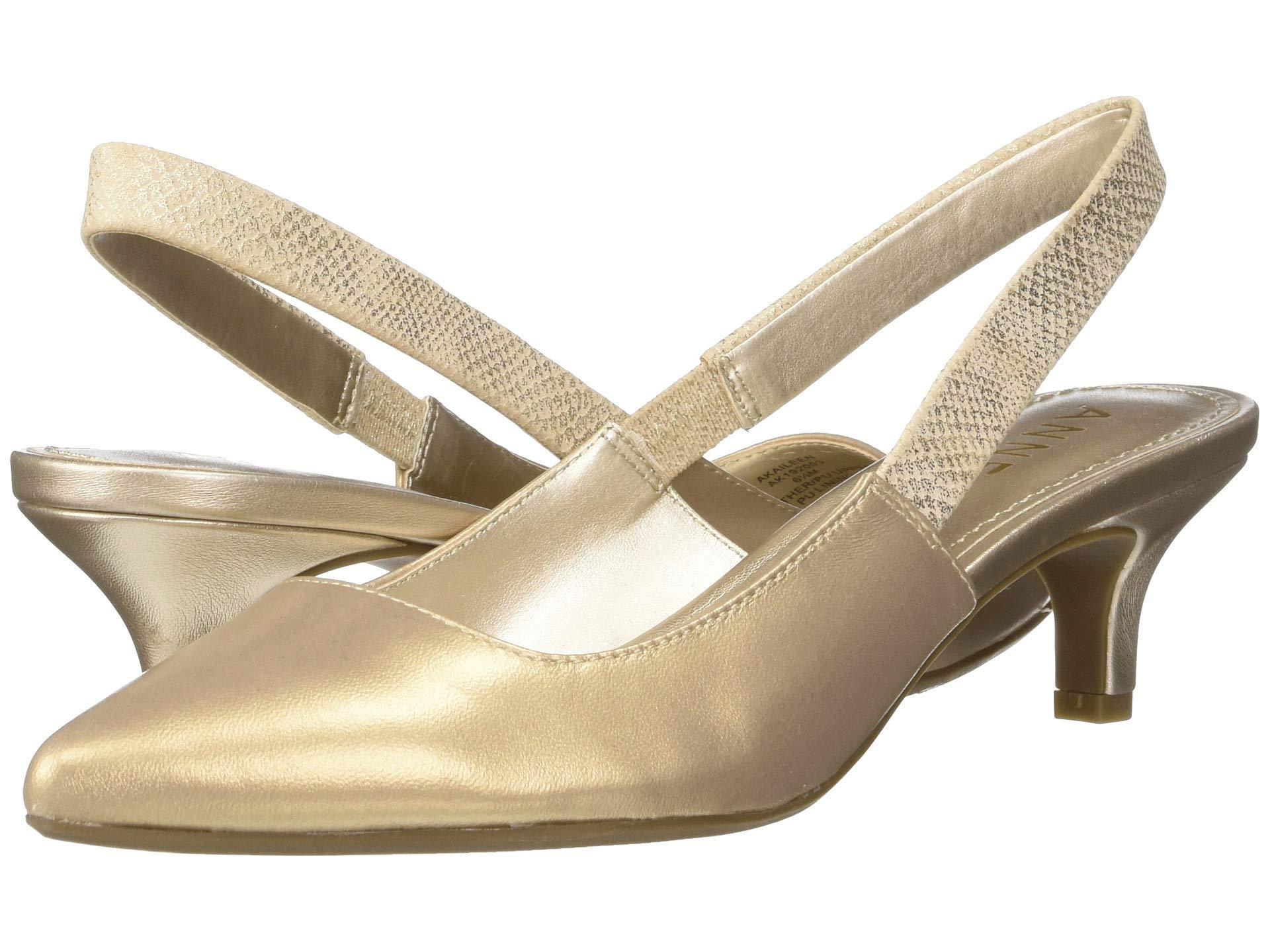 1f856187dcb Lyst - Anne Klein Aileen Slingback Heel (navy Leather) Women s Sling ...