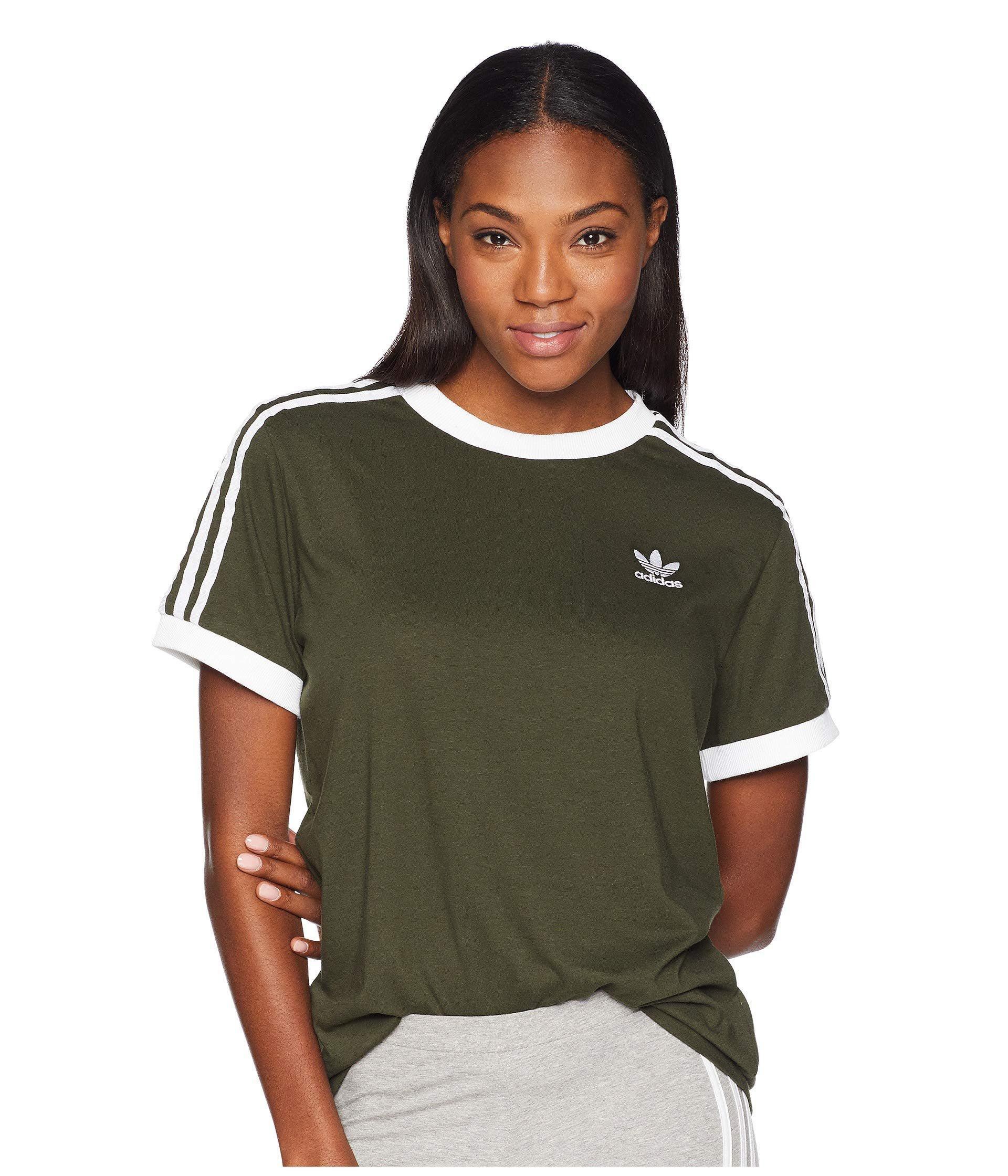 Lyst - adidas Originals 3 Stripes Tee (trace Maroon) Women s T Shirt ... 702a26e81