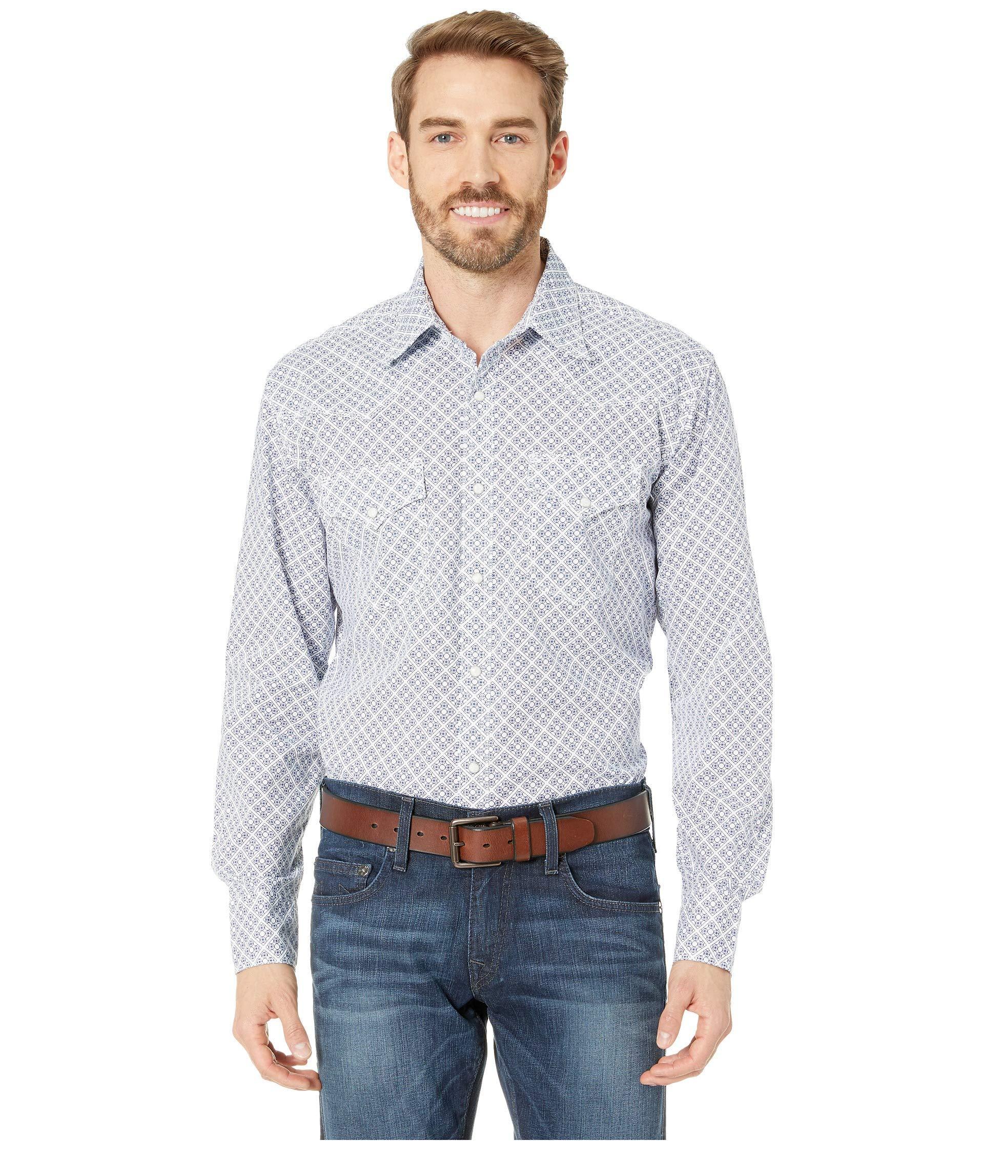 8ea92671b3 Lyst - Wrangler 20x Long Sleeve Snap Print (blue white) Men s ...