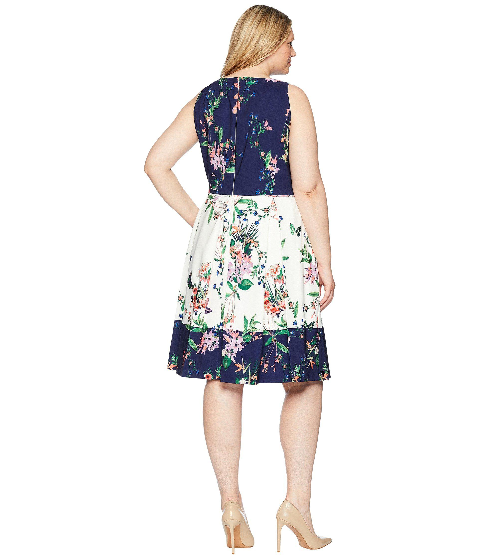 Tahari Plus Size Scuba Fit And Flare Dress Ivory Navy