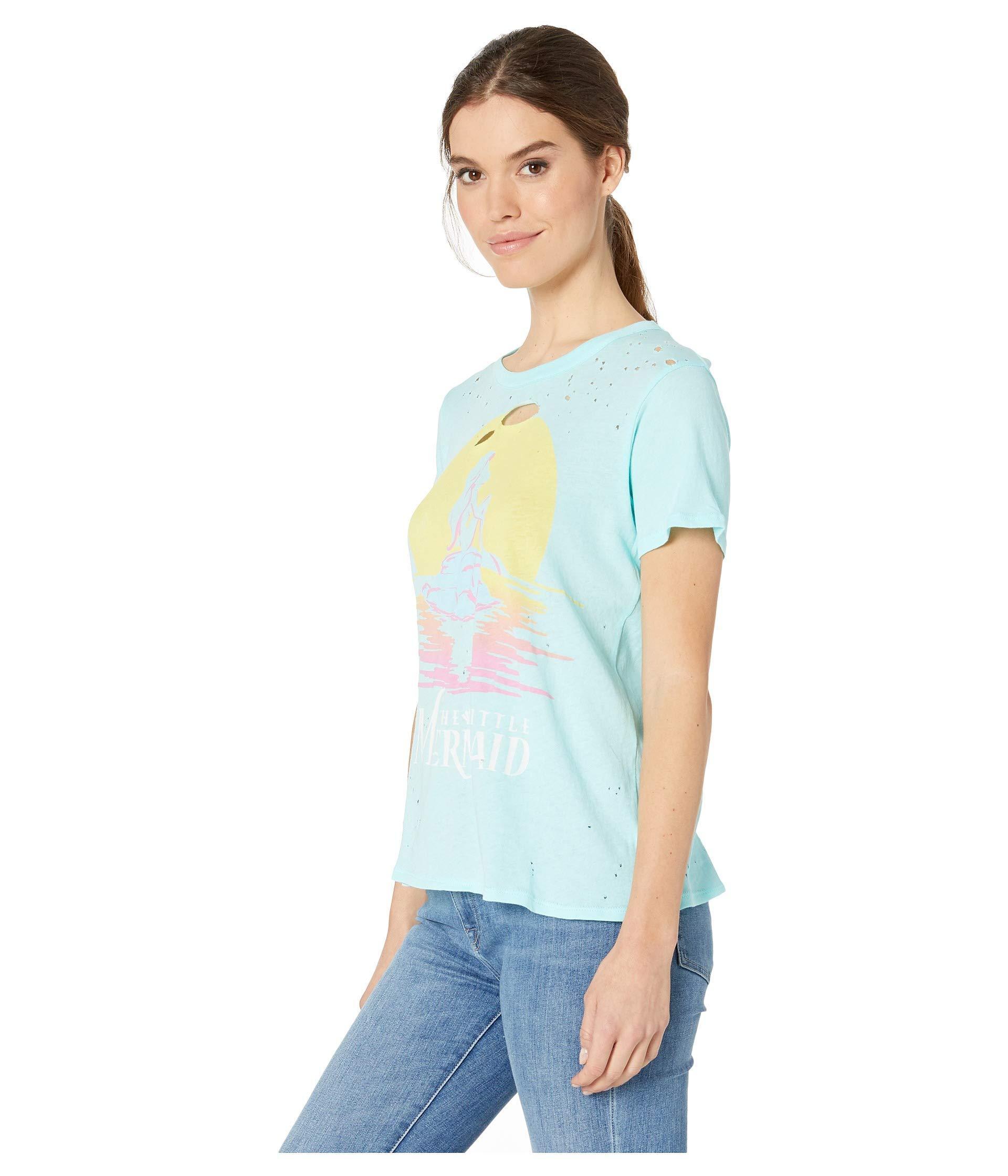 43f5064c40da95 Lyst - Chaser The Little Mermaid X   Short Sleeve Crew Neck Tee (breezy) Women s  T Shirt in Blue