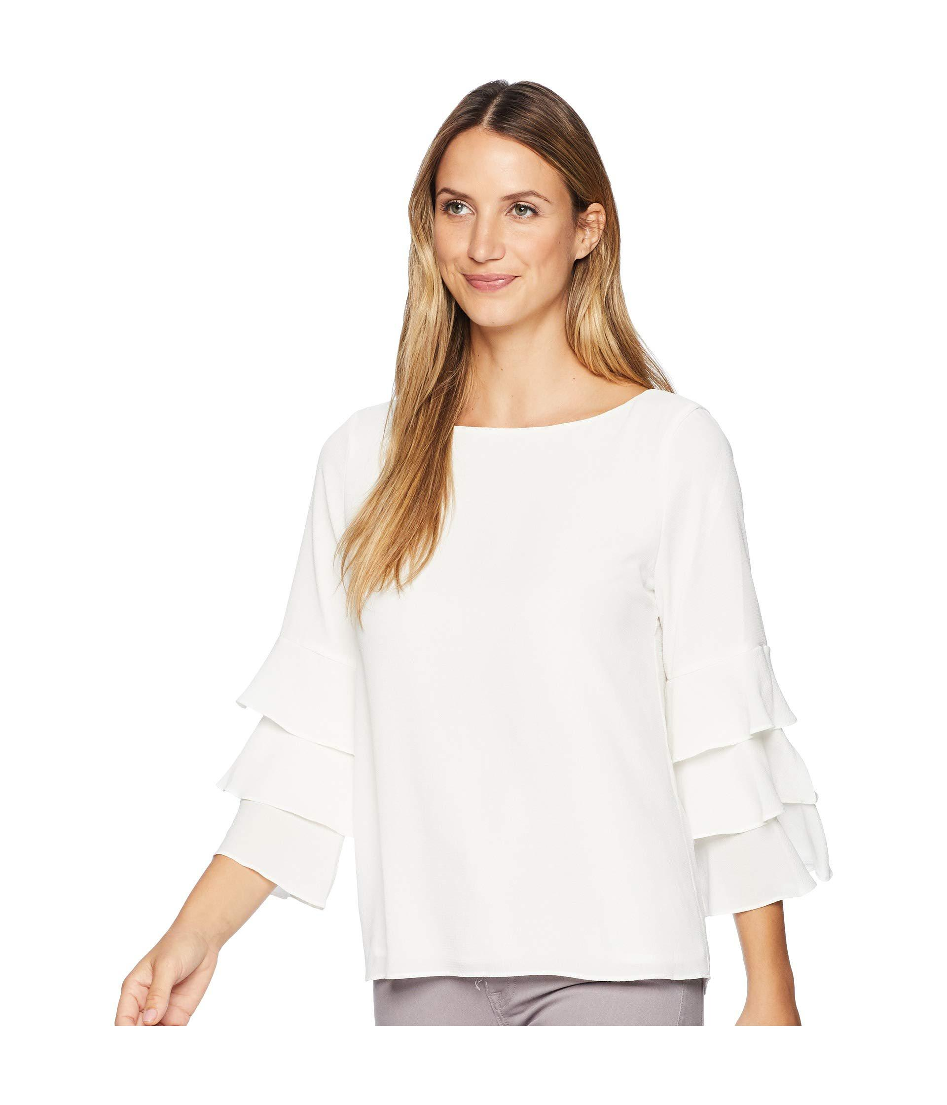 905a663fc38 Lyst - Calvin Klein Three Tier Sleeve Textured Blouse (soft White) Women s  Blouse in White - Save 39%