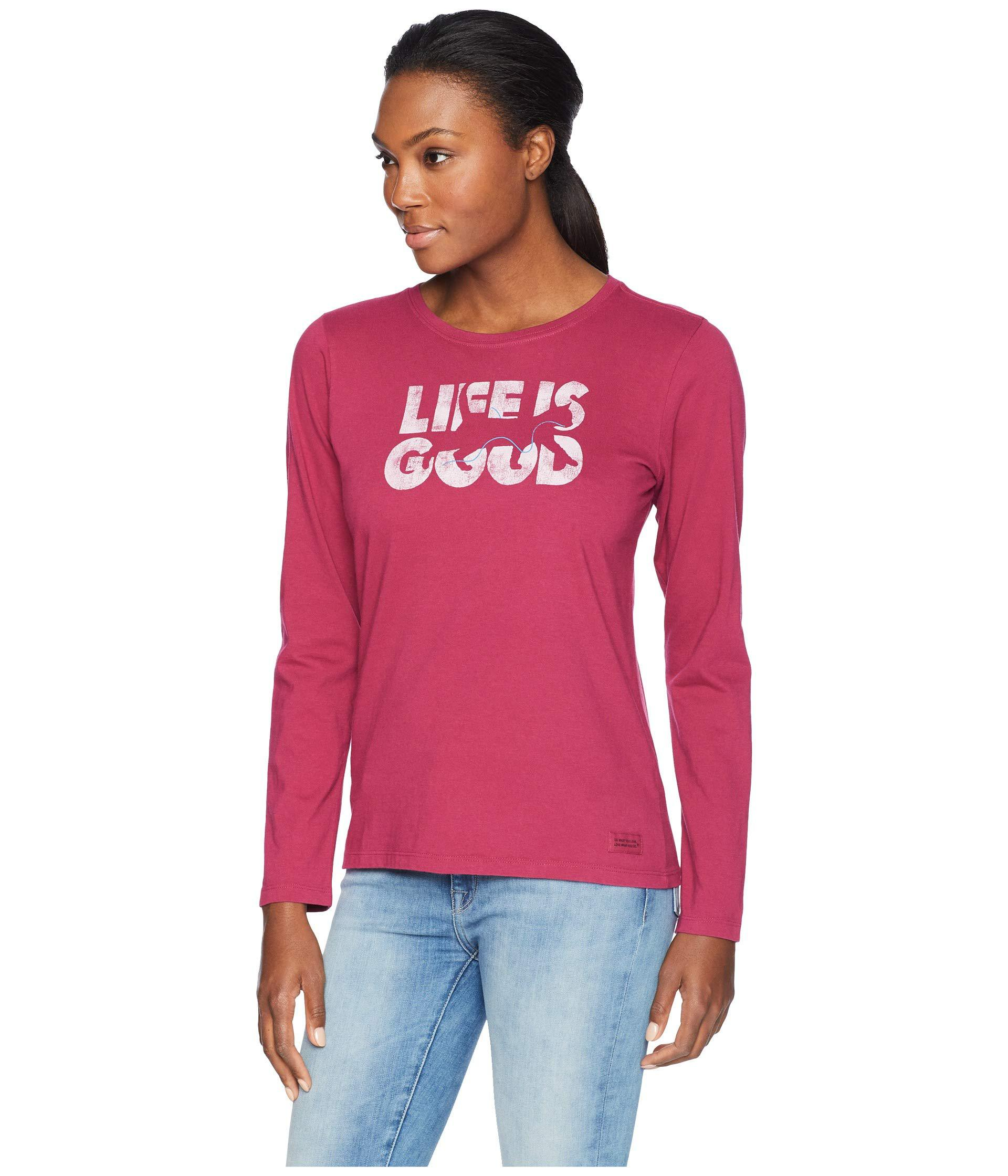 f126ab0f5 Lyst - Life Is Good. Knockout Cat Crusher Long Sleeve T-shirt (wild Cherry)  Women's T Shirt in Red