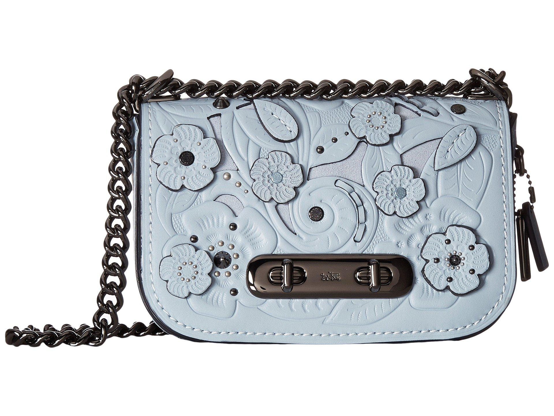 a325d566 sweden coach gray page crossbody with tea rose tooling lyst ...