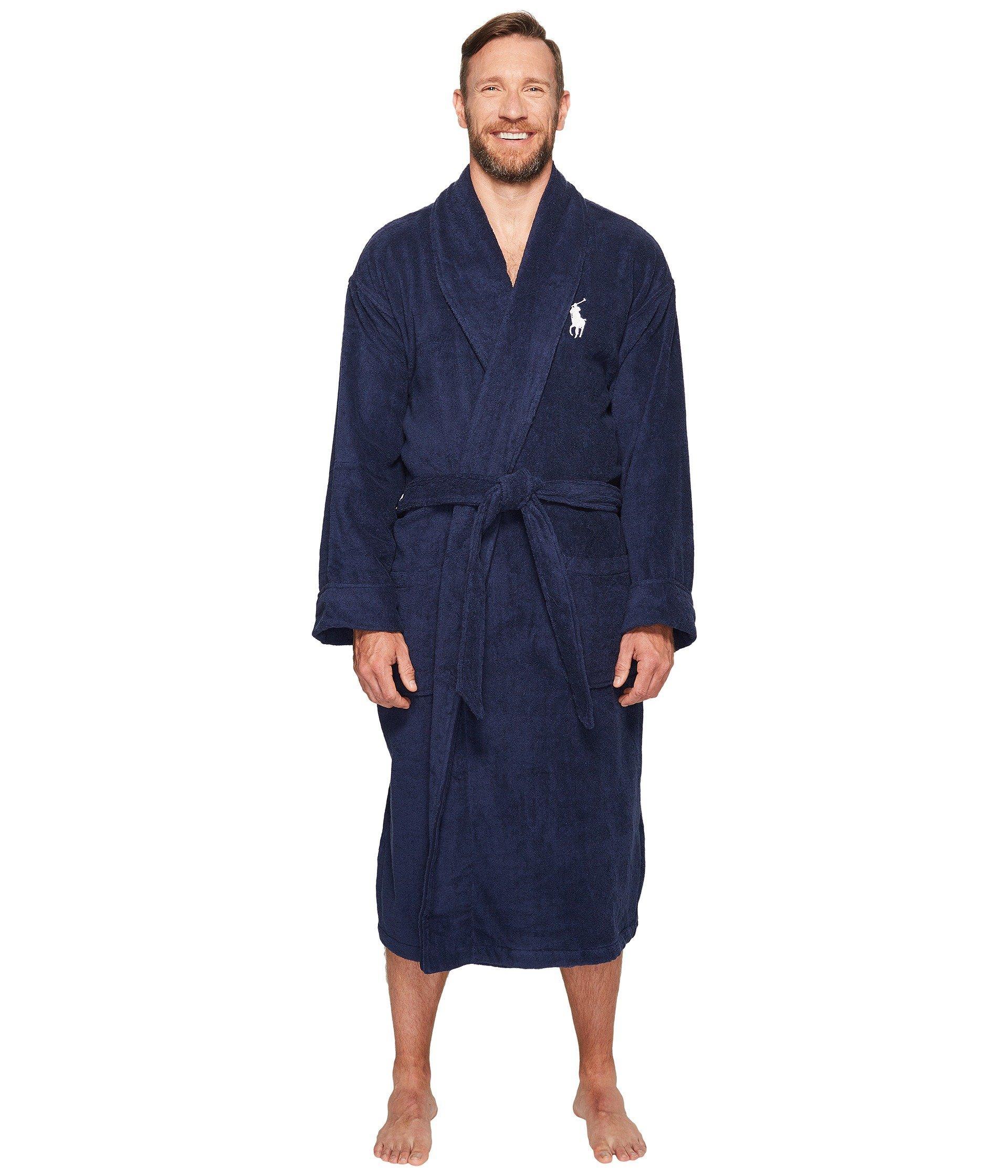 Polo ralph lauren Mens Kimono Cotton Velour Robe in Blue