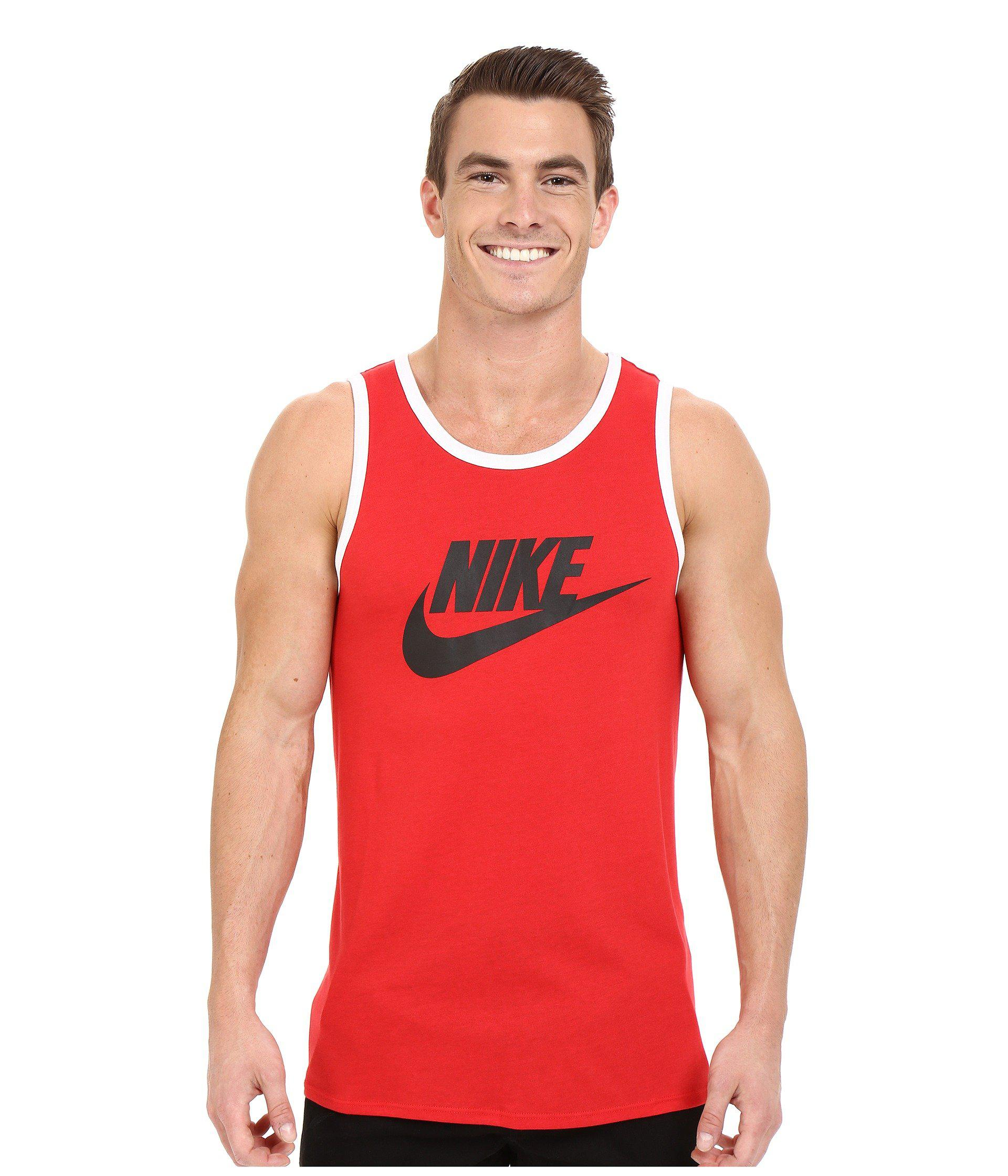 2760faff0514e Lyst - Nike Ace Logo Tank Top (white black university Red) Men s ...