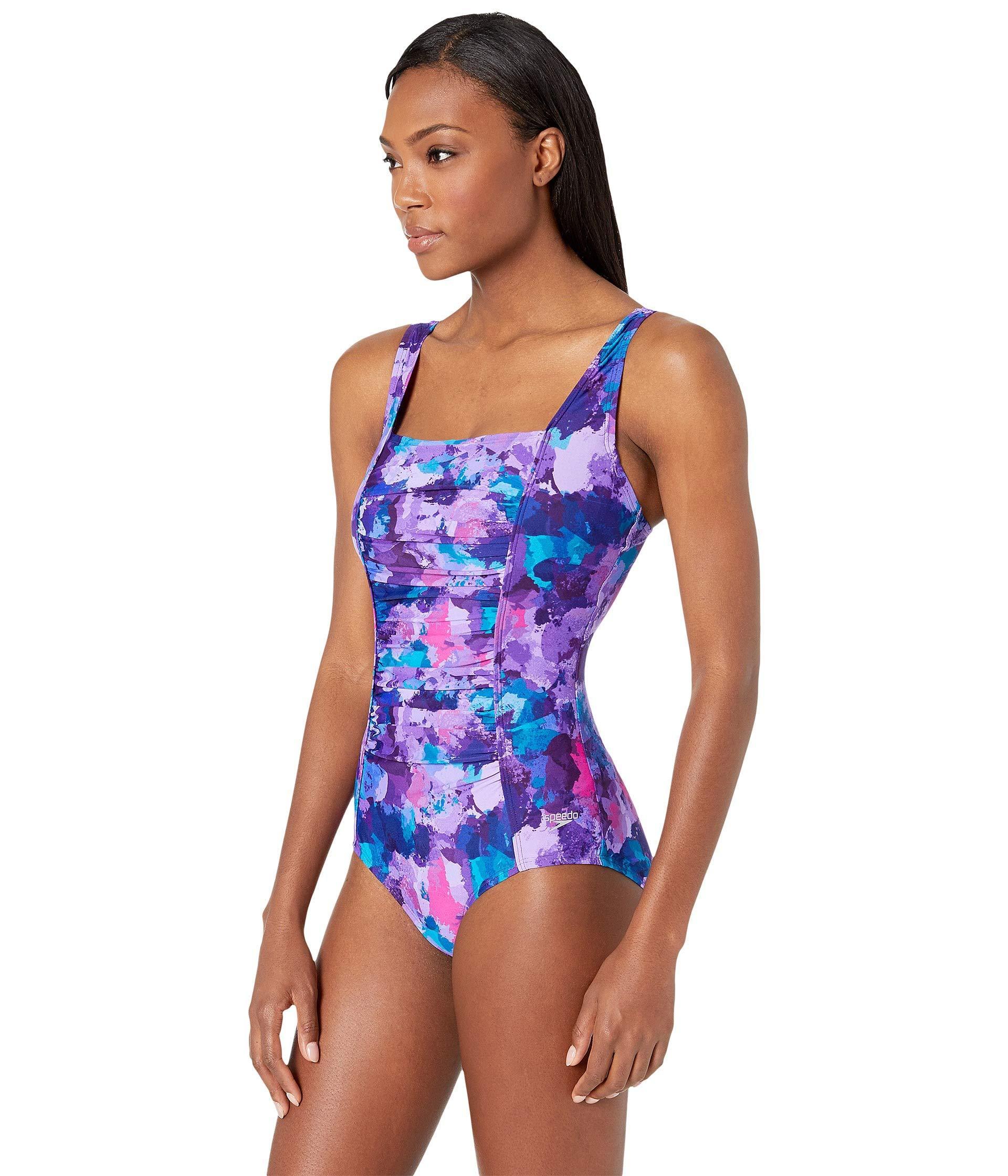 3ee67367ab7 Speedo Endurance Plus Shirred Tank Swimsuit (multi) Women s Swimsuits One  Piece in Blue - Lyst