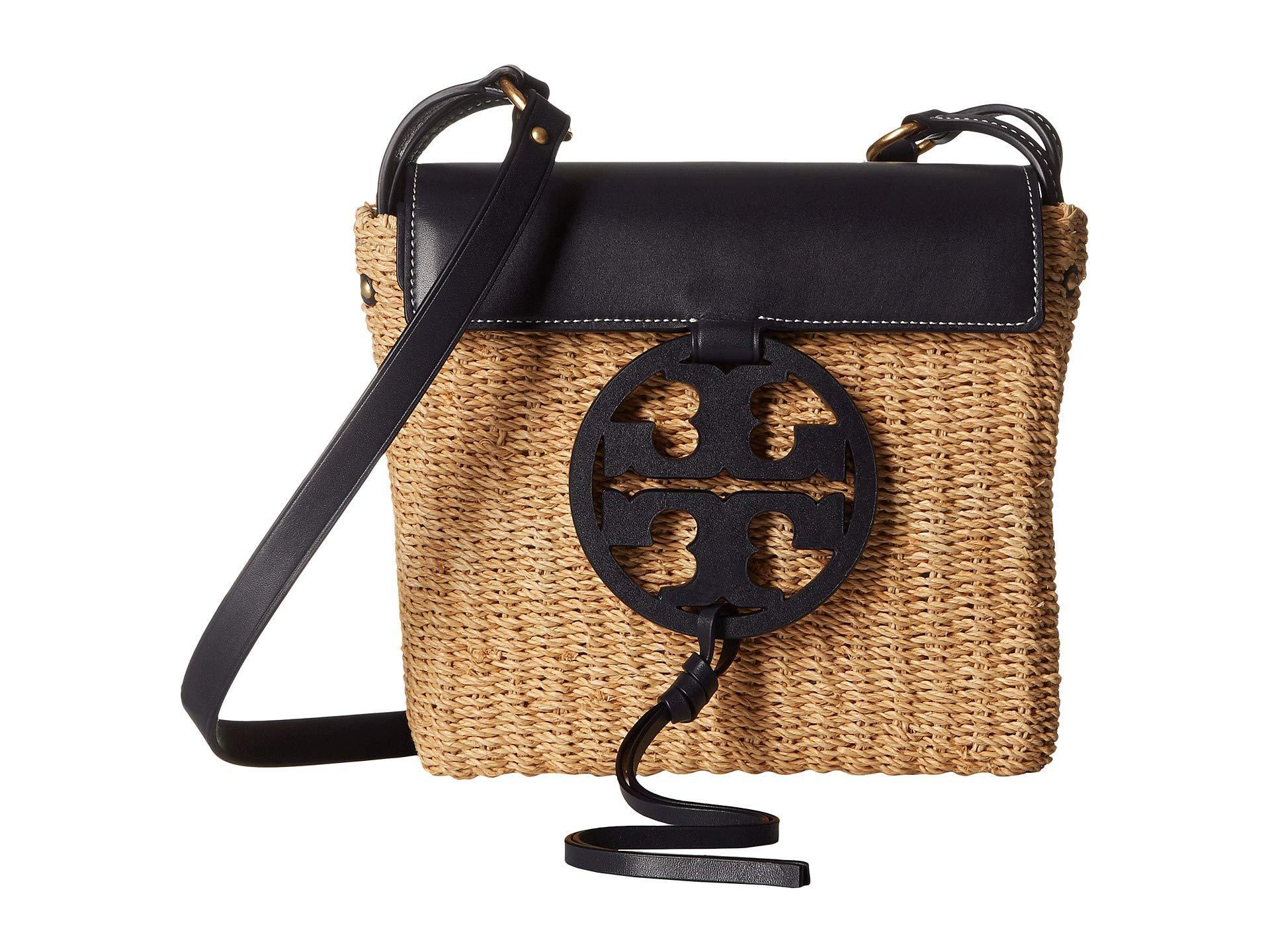 82c303da5aaf38 Lyst - Tory Burch Miller Straw Crossbody (watercress) Handbags in Blue