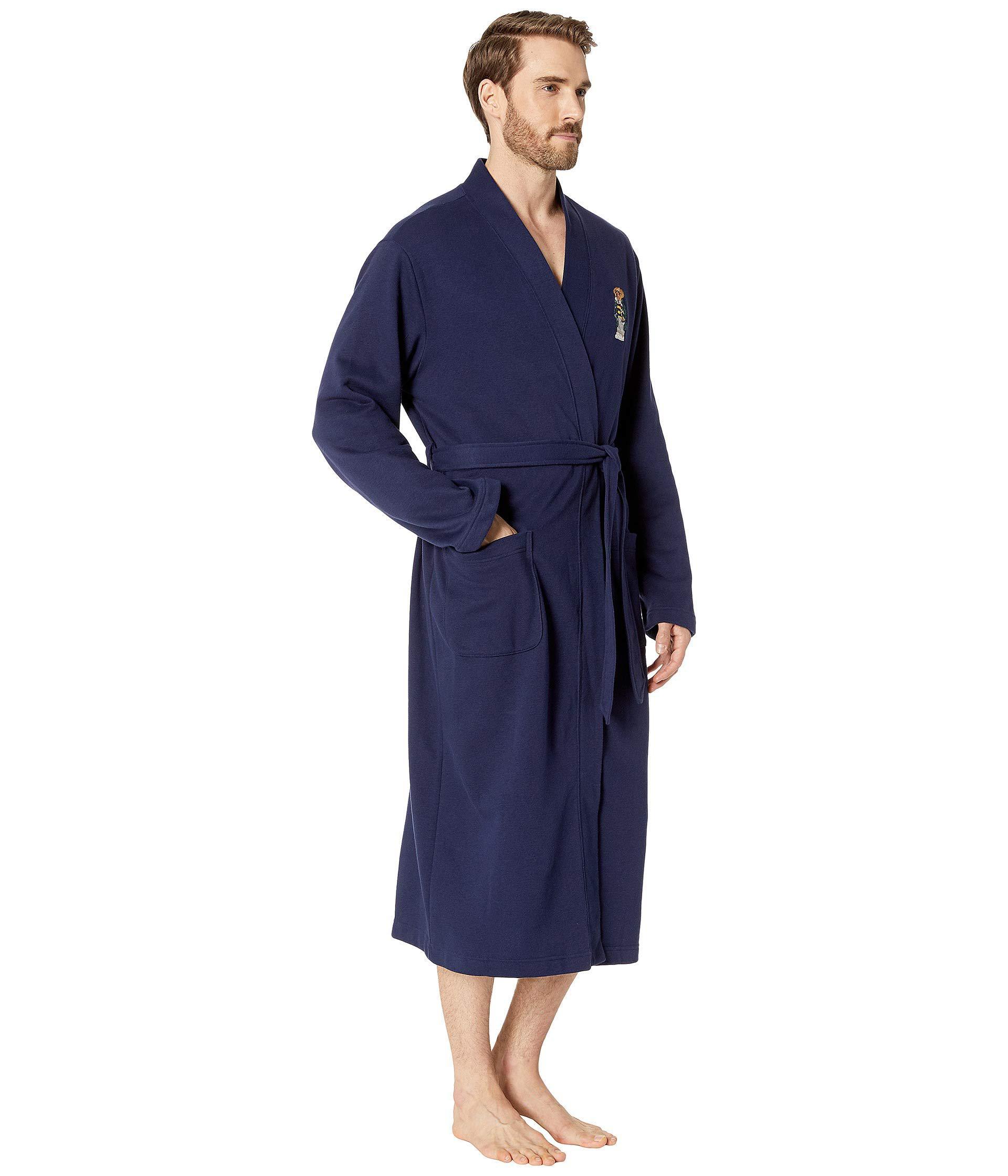 bbc243e5f7e Polo Ralph Lauren Long Sleeve Fleece Kimono Robe (cruise Navy Toggle ...