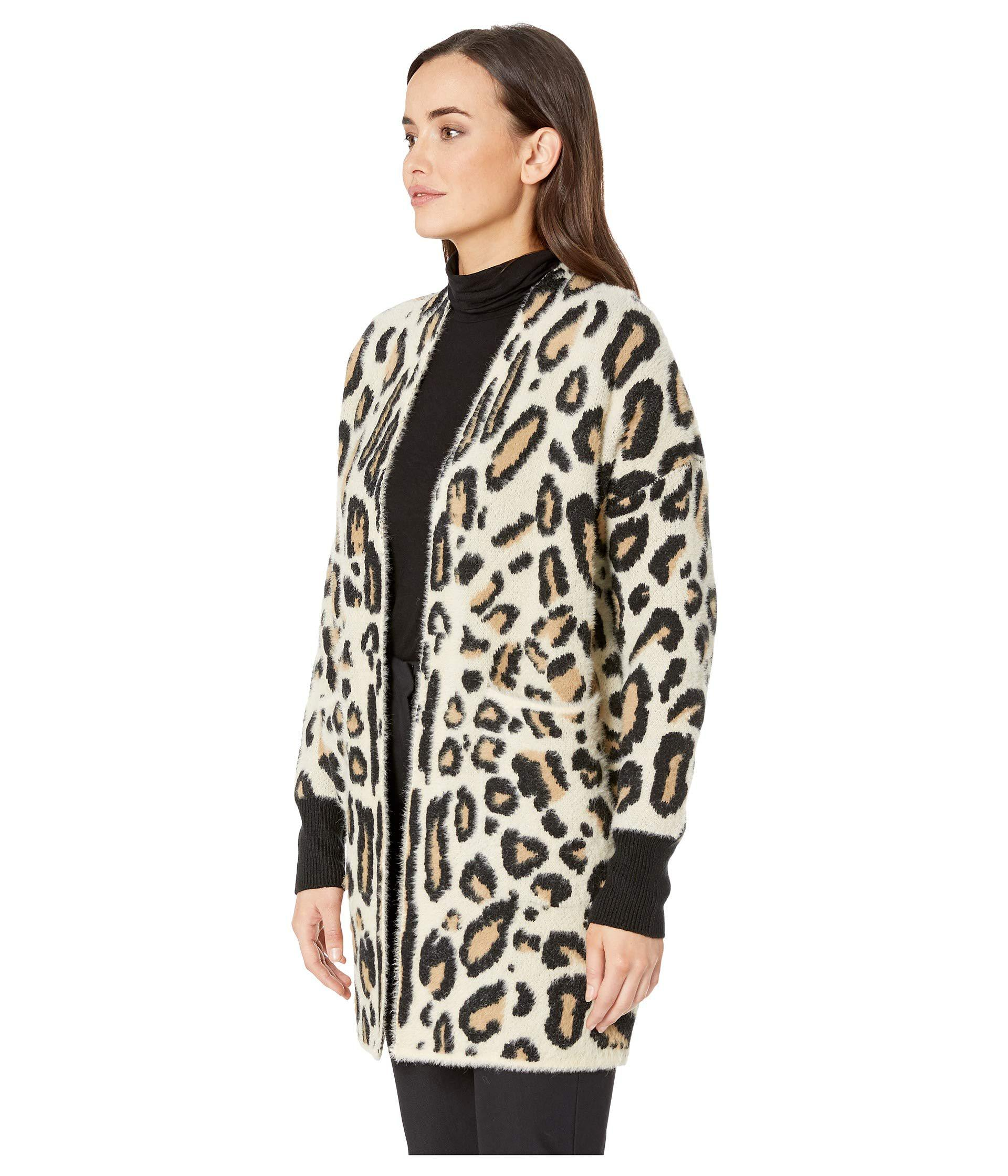 87406e5d6a Lyst - Vince Camuto Long Sleeve Cheetah Eyelash Two-pocket Cardigan (wood  Ash) Women s Sweater in Black - Save 32%