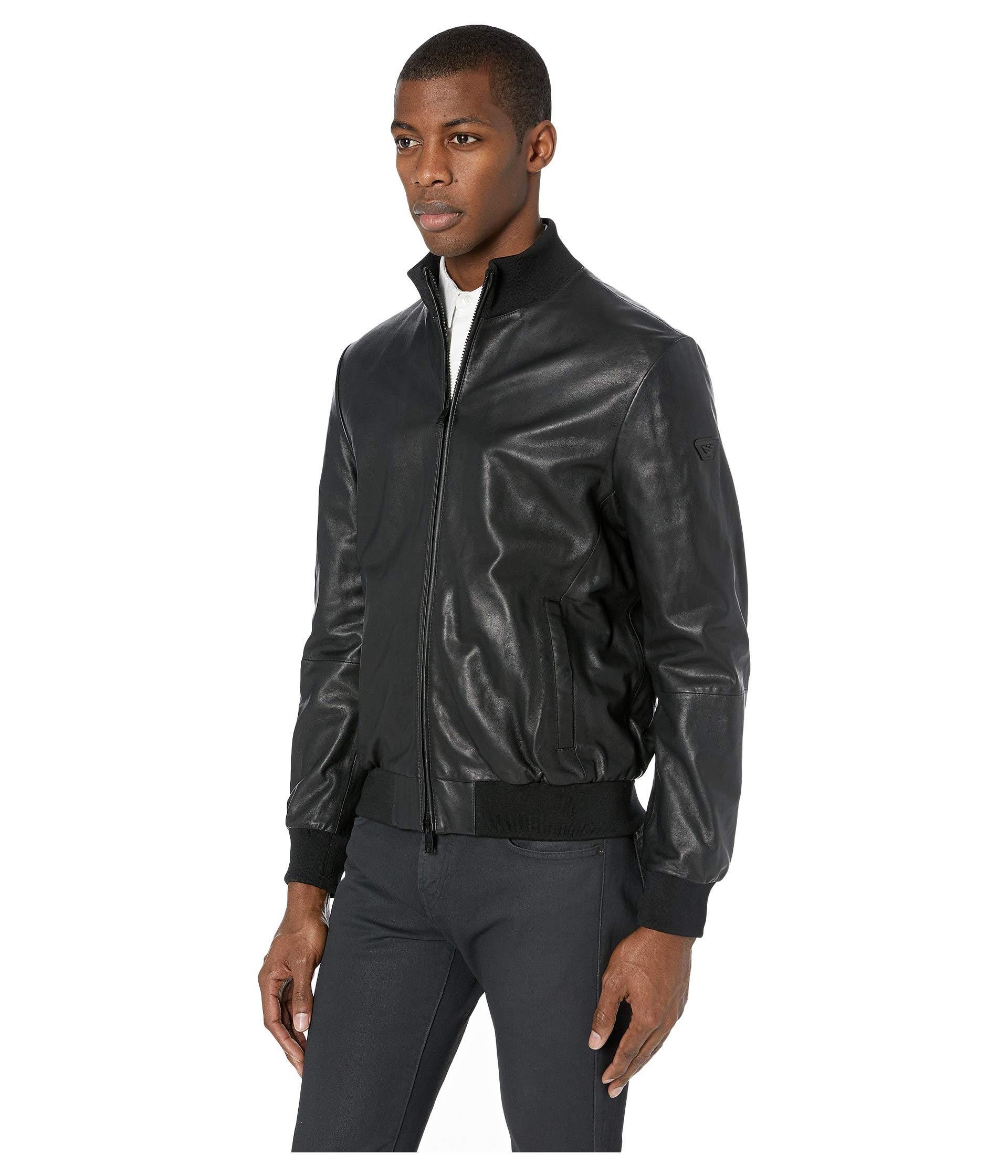 Emporio Armani Leather Baseball Bomber Jacket in Black for ...