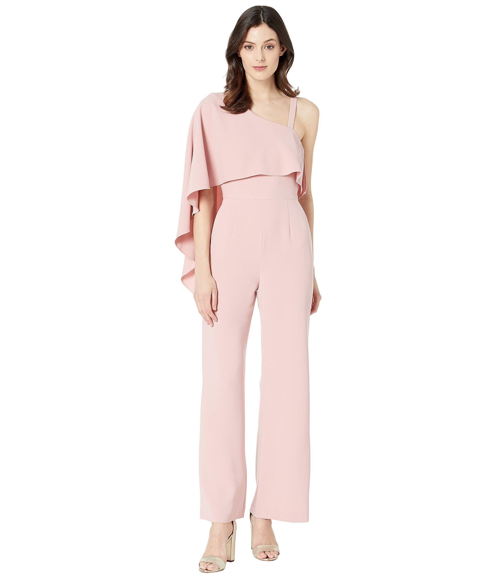 7373e7163f9 Lyst - Tahari One Shoulder Popover Jumpsuit (dusty Pink) Women s ...