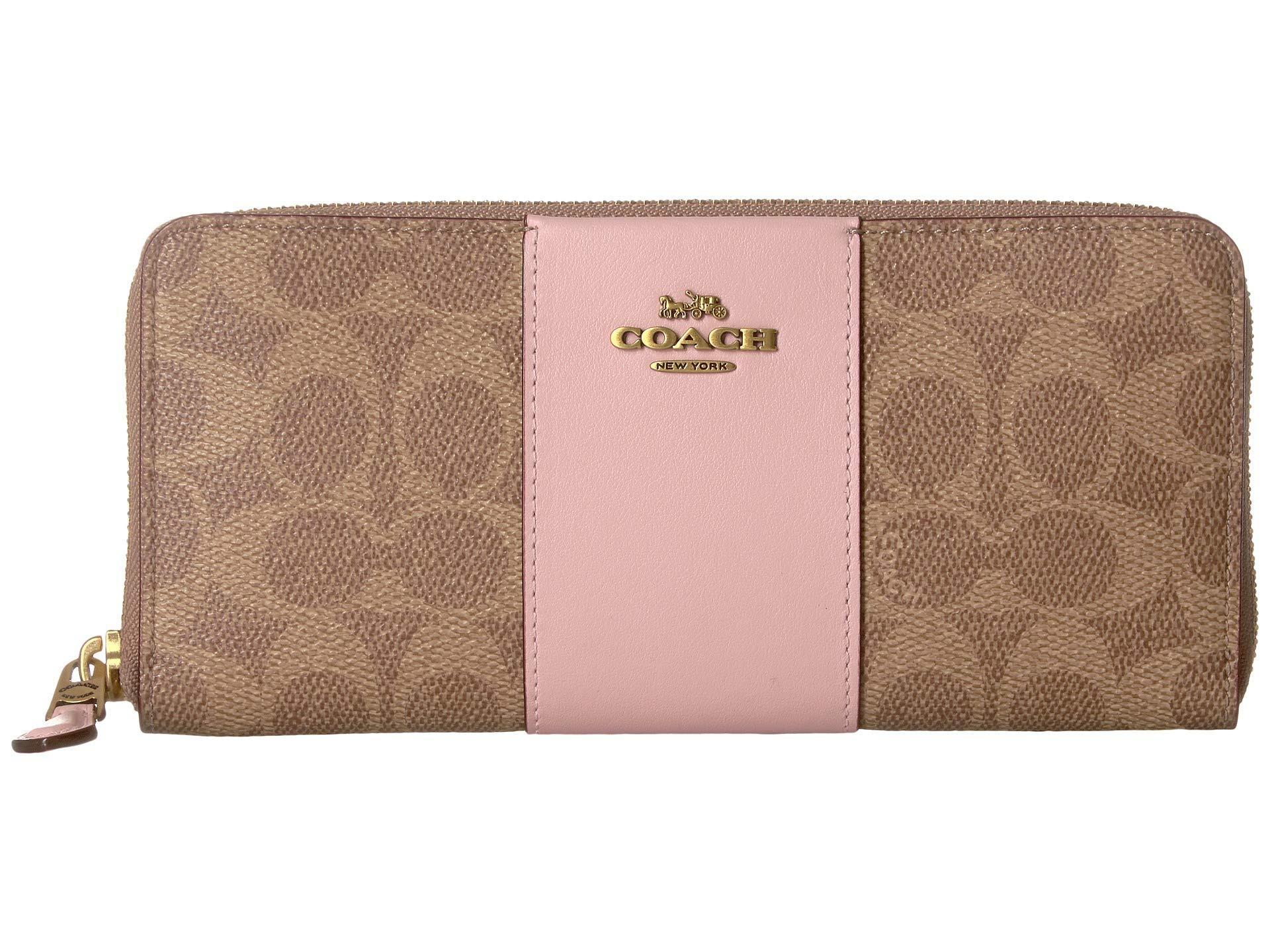 0562895e Women's Color Block Coated Canvas Signature Slim Accordion Zip  (tan/blossom/brass) Wallet Handbags