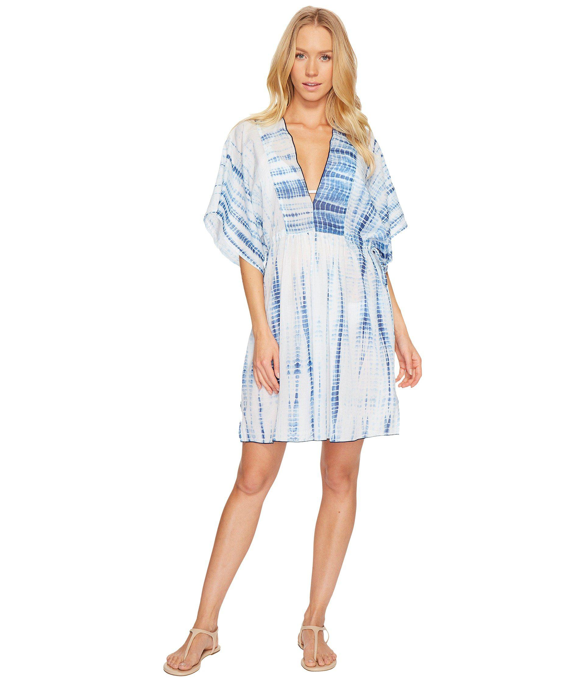 c789d3a7385db2 Lyst - Polo Ralph Lauren Voile Tie Back Tunic Cover-up (blue white ...