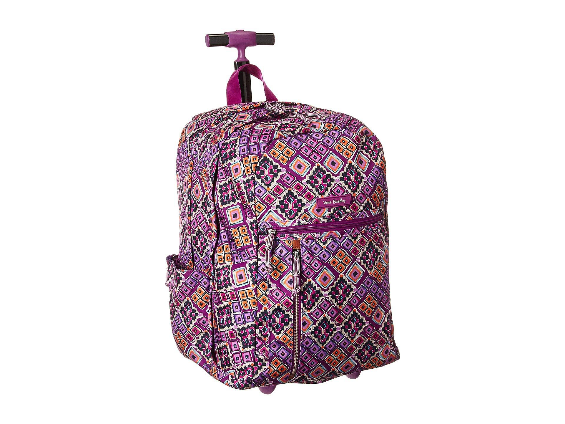 Vera Bradley - Purple Lighten Up Large Rolling Backpack (cut Vines) Backpack  Bags -. View fullscreen 5b68af7d9eff8