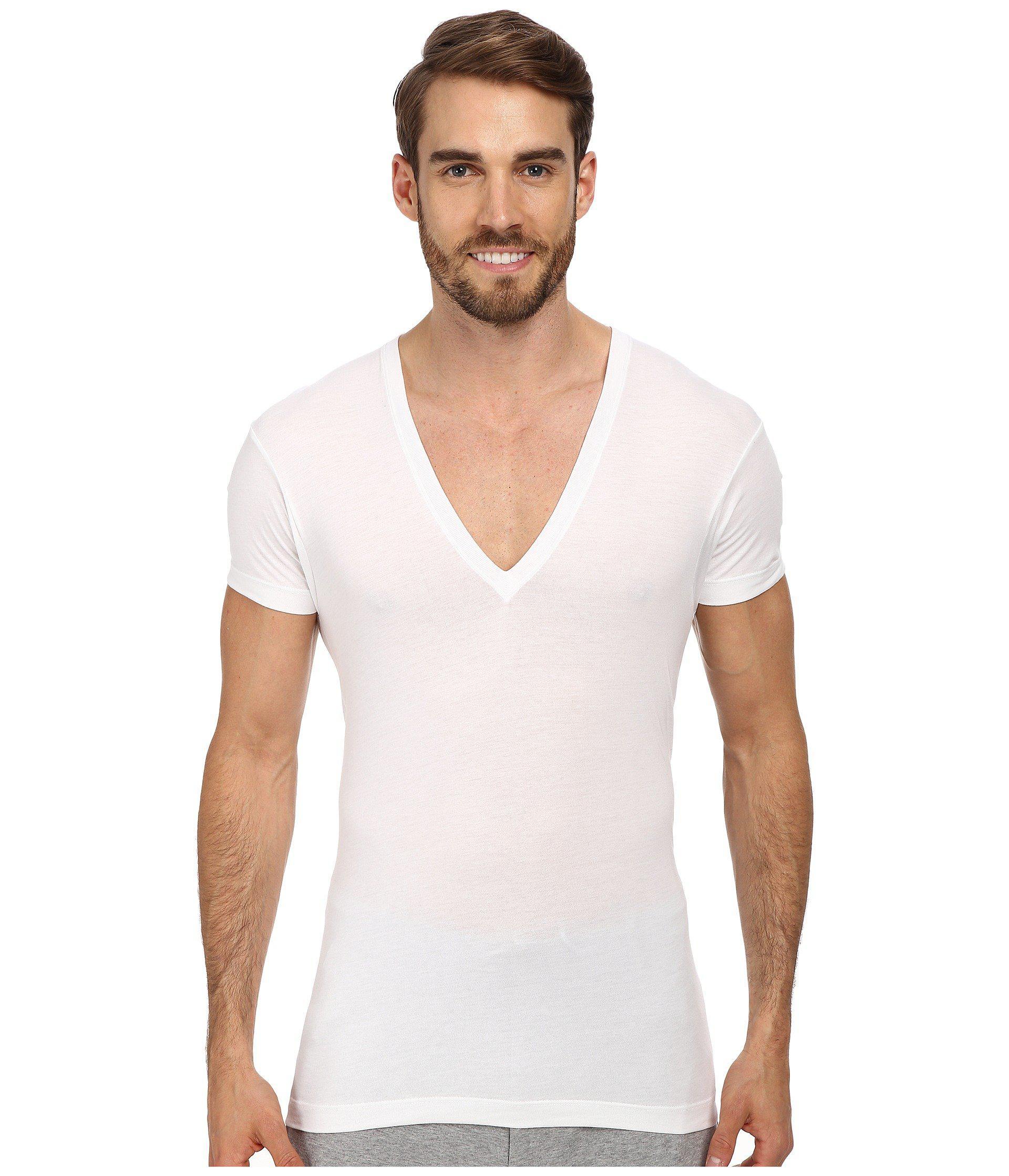 Lyst 2xist pima slim fit deep v neck t shirt in white for White v neck shirt mens