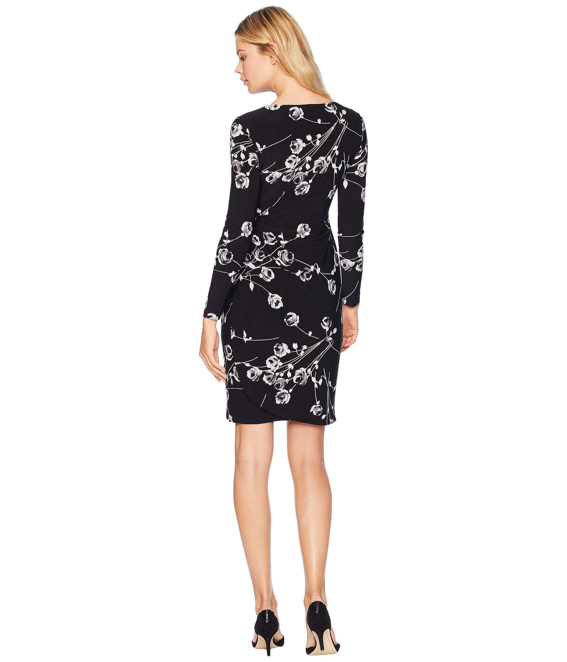 7d584fc33e007 Lauren by Ralph Lauren - Galespie Floral Kellyn Long Sleeve Day Dress (black /grey. View fullscreen