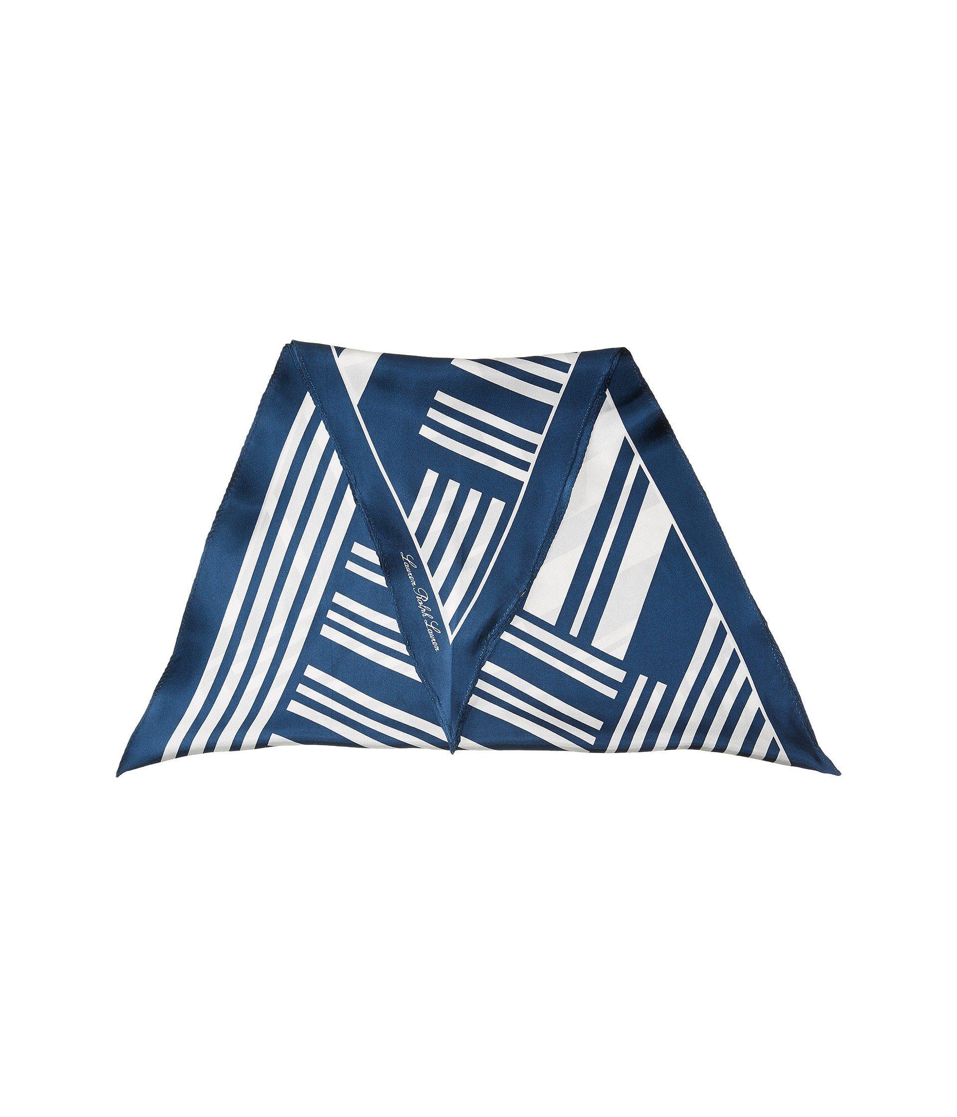 One Size, Pastel Blue Lauren by Ralph Lauren Alina Silk Diamond Shape Scarf