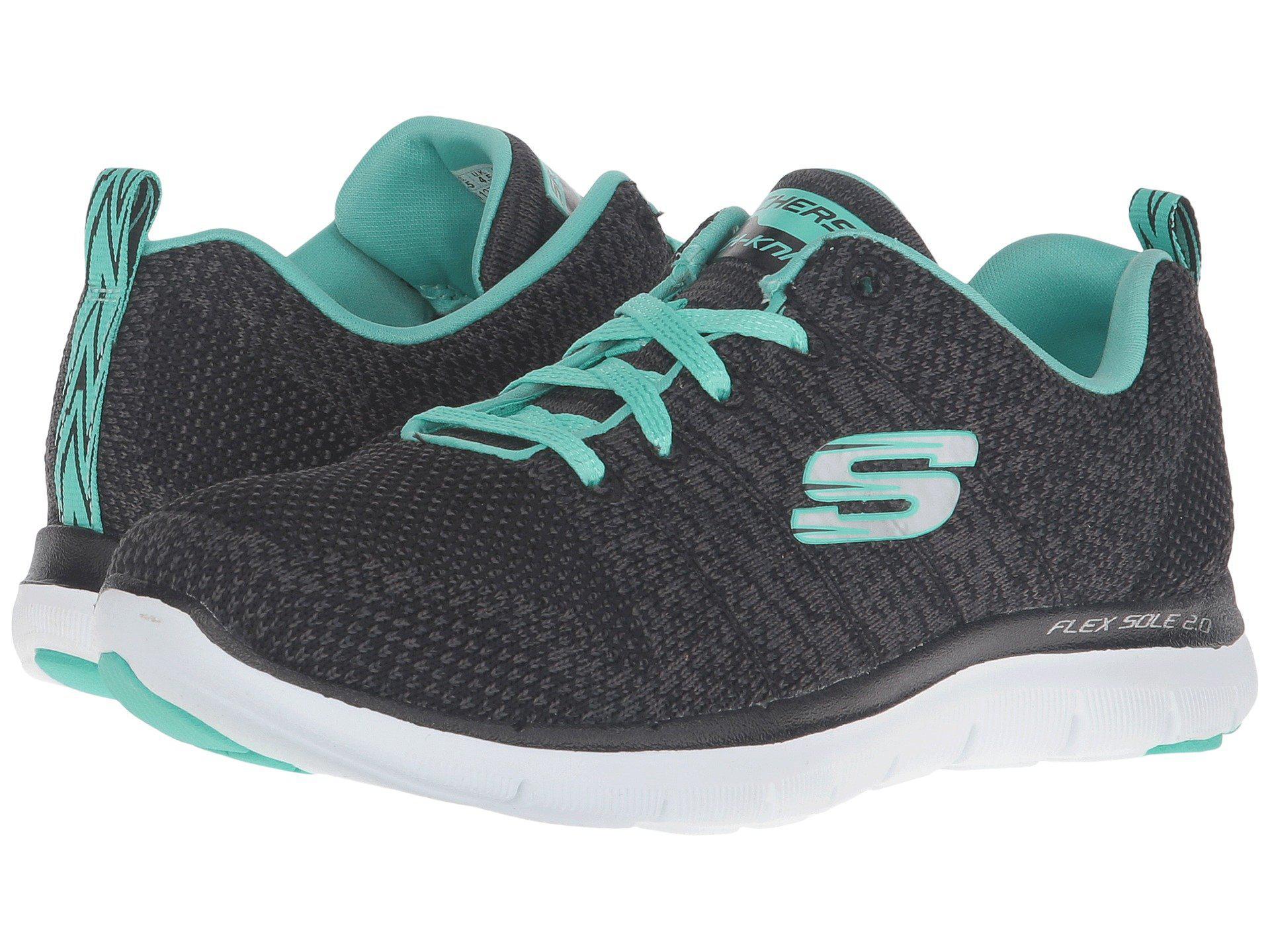 4abf4d5baabe Lyst - Skechers Flex Appeal 2.0 - High Energy (black aqua) Women s Shoes