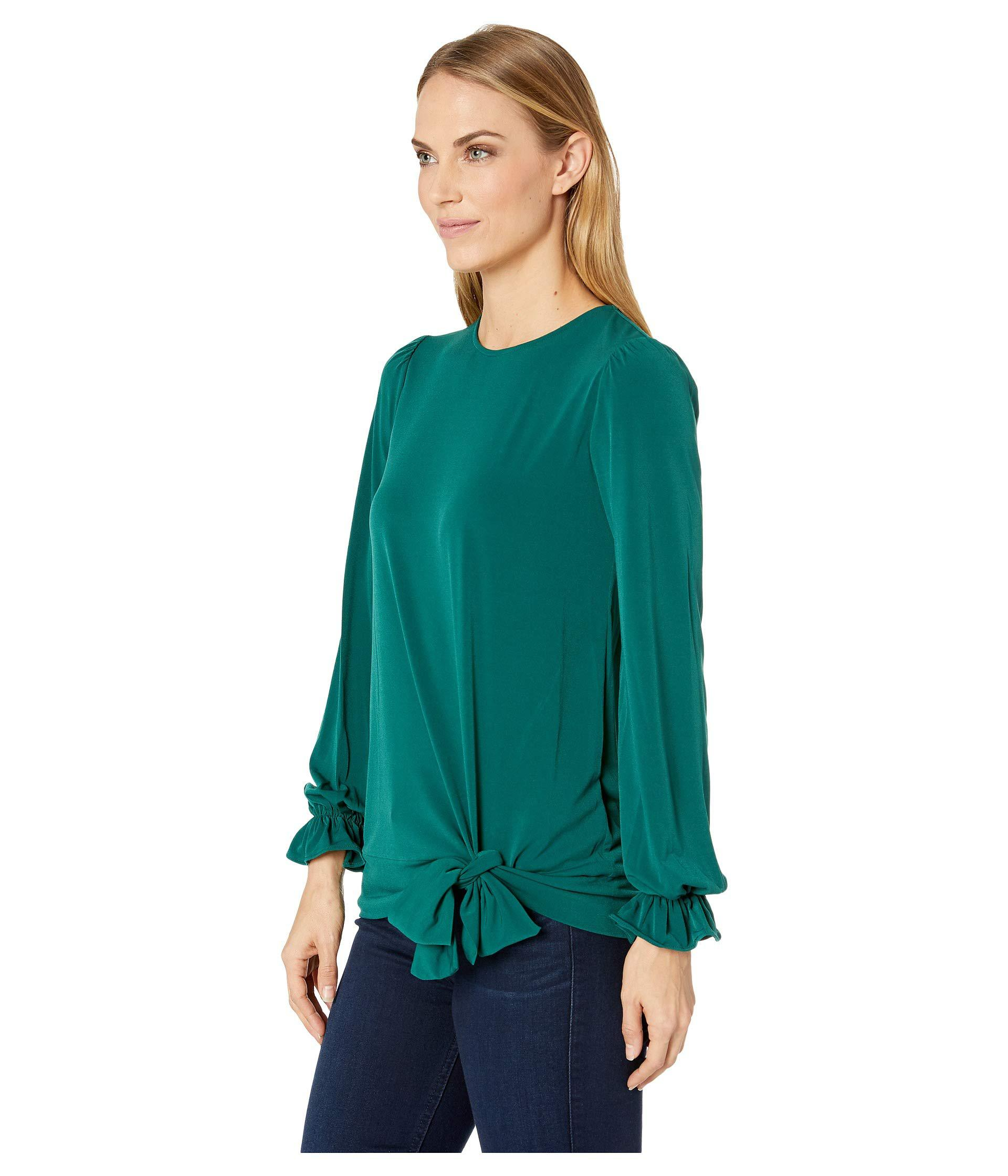 b848caccd50 Lyst - MICHAEL Michael Kors Long Sleeve Tie Blouse Top (dark Emerald) Women s  Clothing in Green