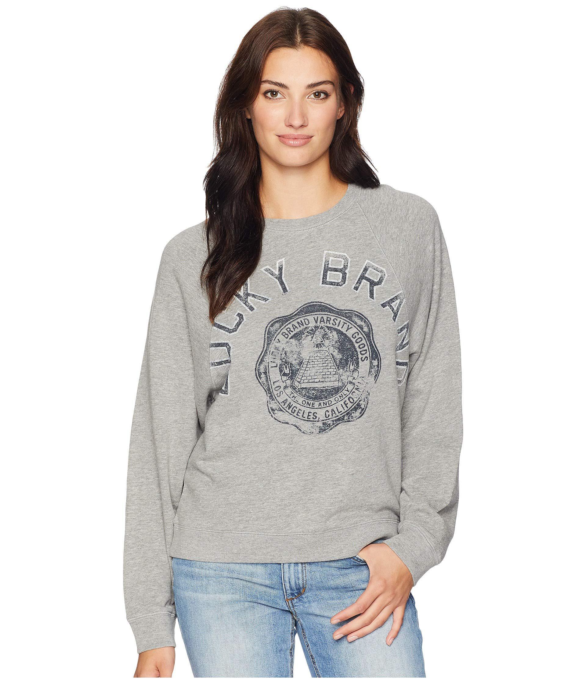 9037ad7ee7be Lyst - Lucky Brand Lucky Varsity Pullover Sweatshirt (heather Grey ...
