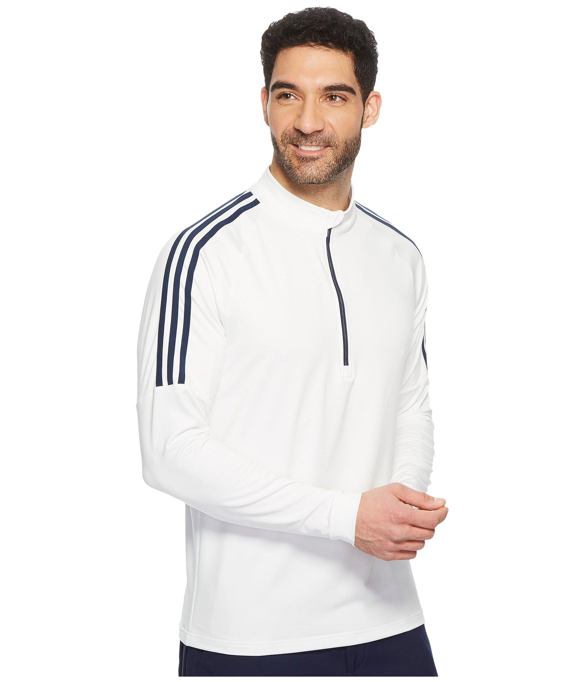 Classic 3 stripes 14 Zip Pullover (white 1) Men's Sweater