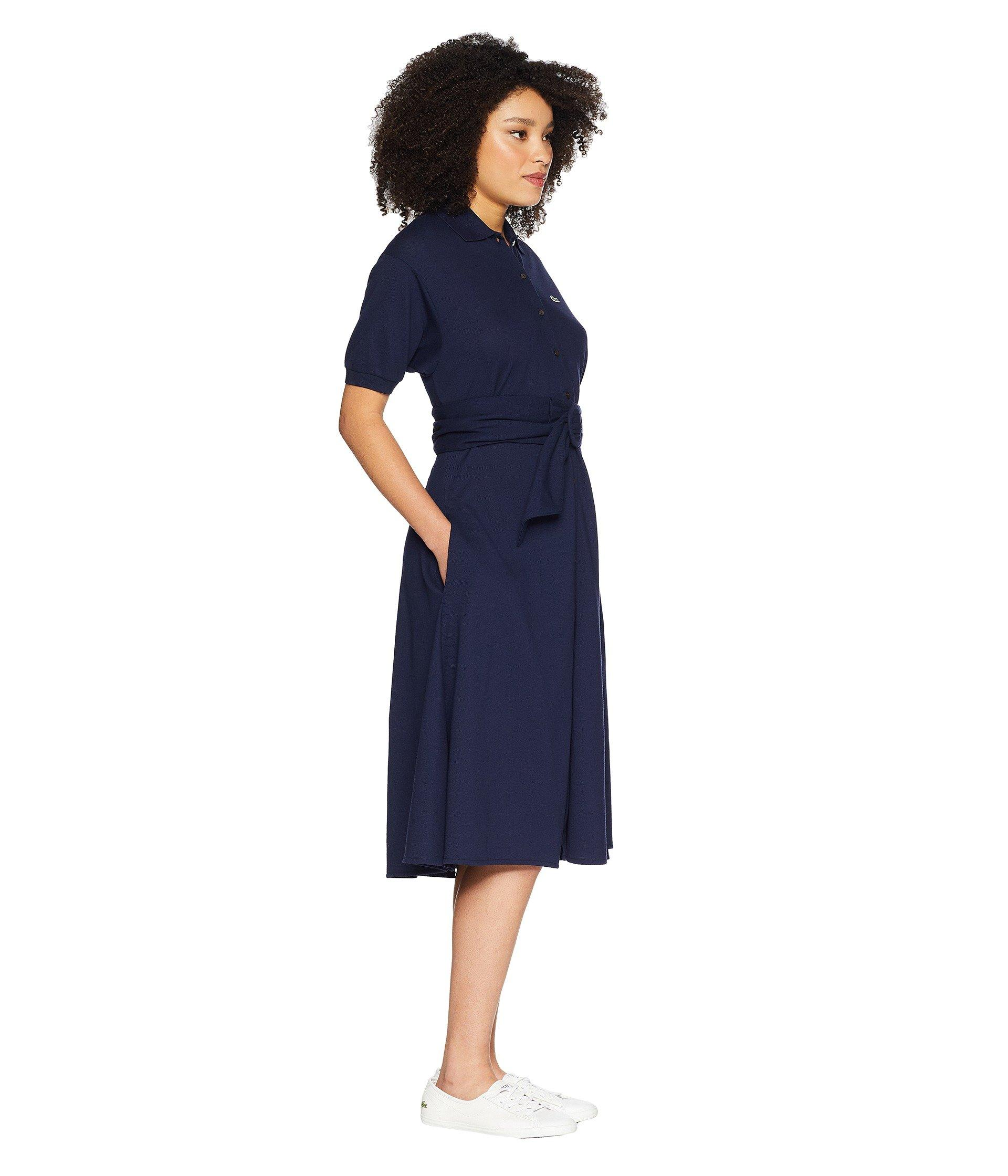 cf870b89a28f1f Lacoste - Short Sleeve Classic Supple Petit Pique Belted Polo Dress (navy  Blue) Women s. View fullscreen