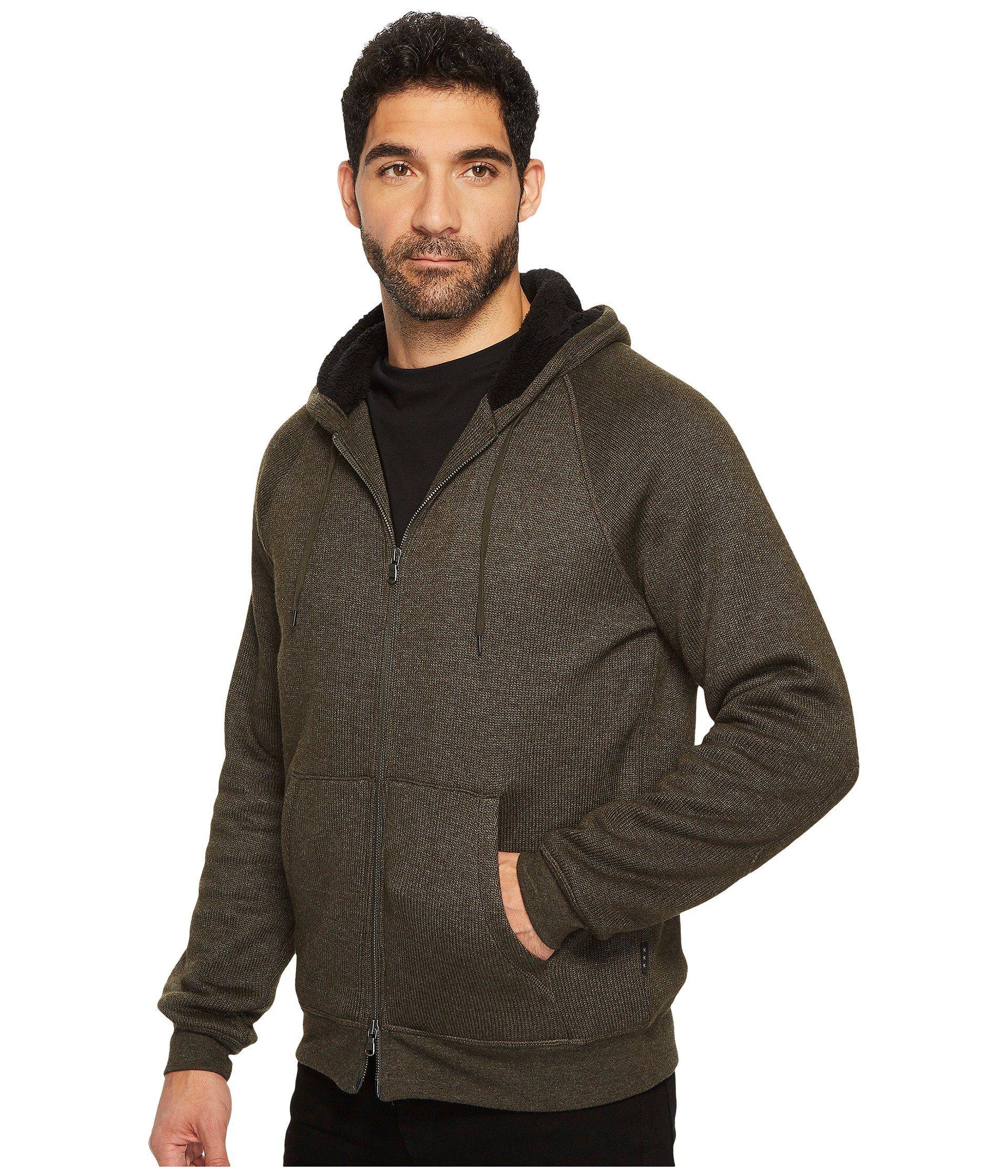 John Varvatos Star USA Men/'s Olive Branch Green Fleece Lined Zip Hooded Jacket