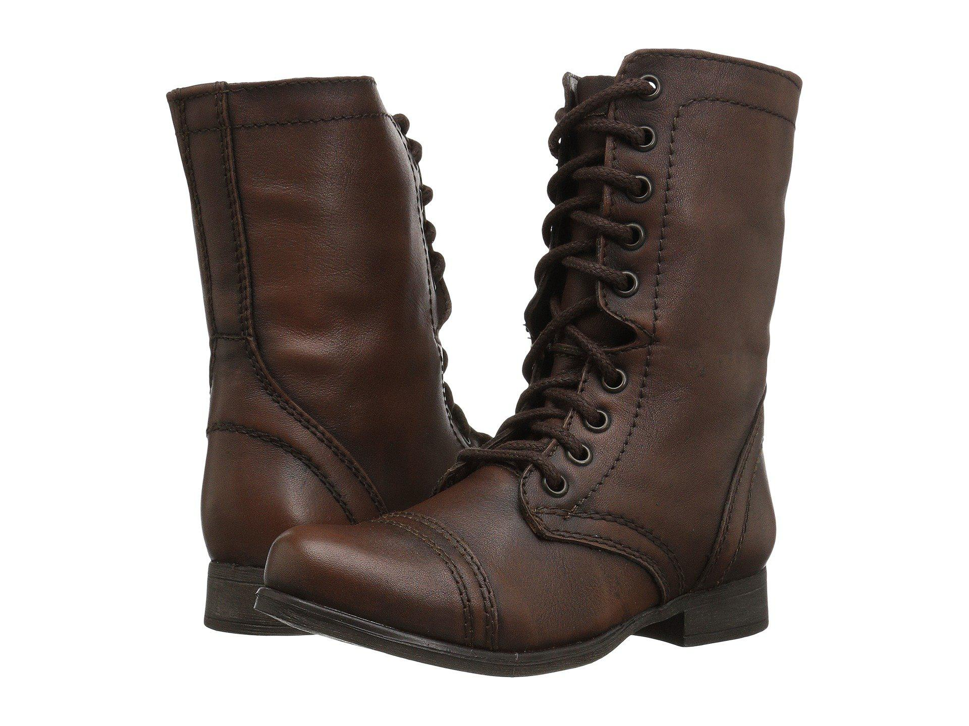 0f8b4828061 Steve Madden. Brown Troopa Combat Boot (black Leather) Women s Lace Up  Casual Shoes