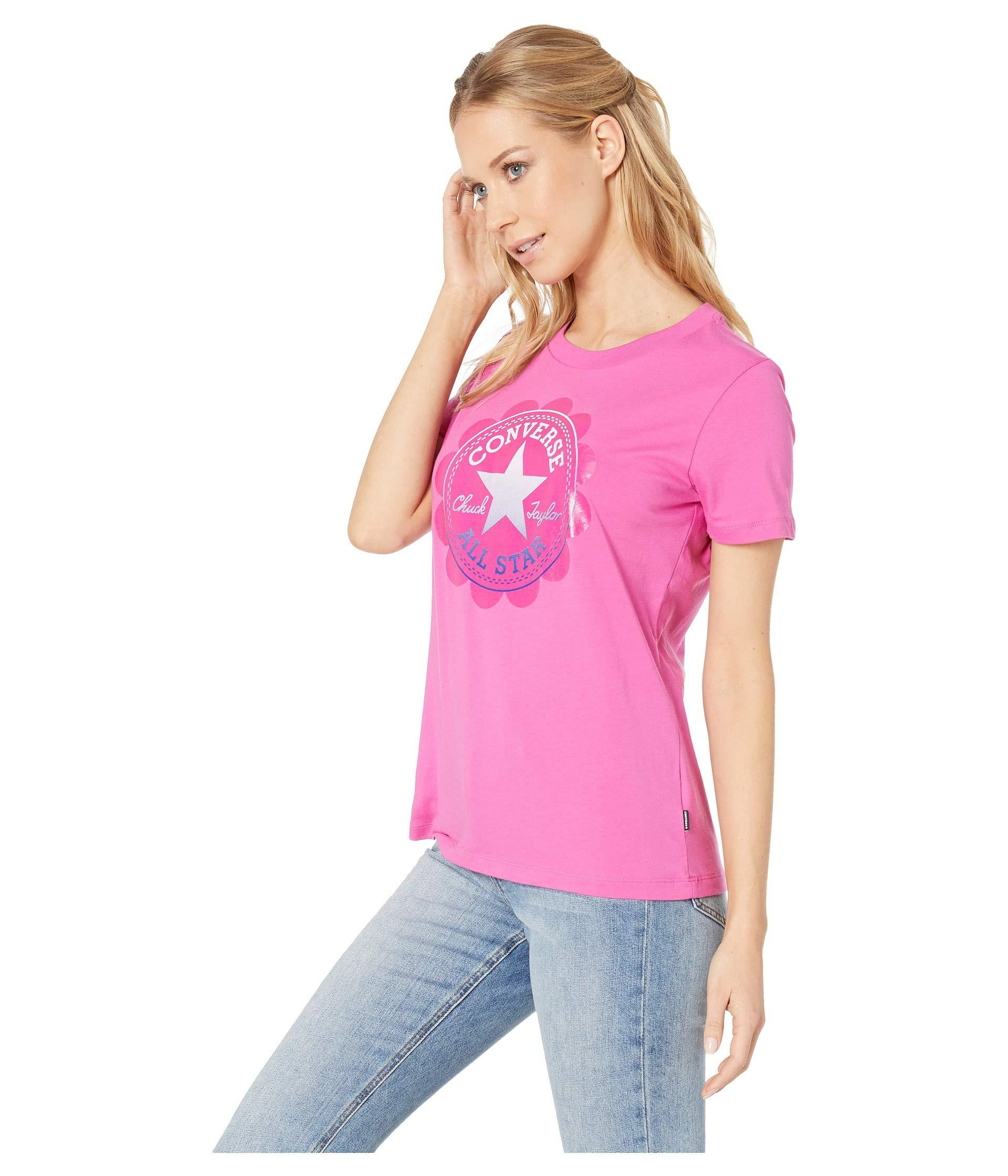04cf30ab827 Lyst - Converse Ombre Chuck Patch Short Sleeve Tee (celestial Teal) Women s  T Shirt in Pink