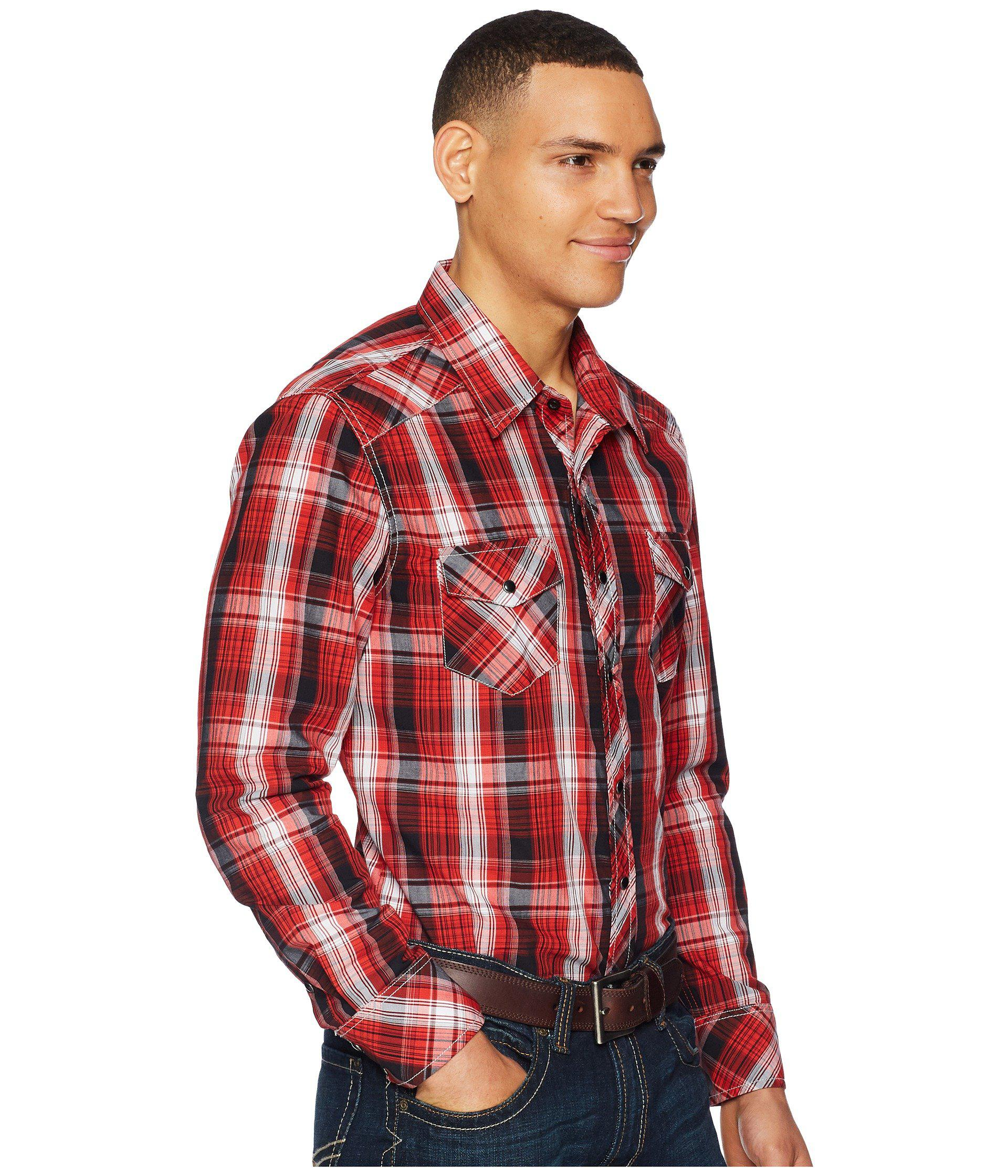 Rock /& Roll Cowboy Men/'s Red /& Black Plaid Snap Up Western Shirt B2S5718
