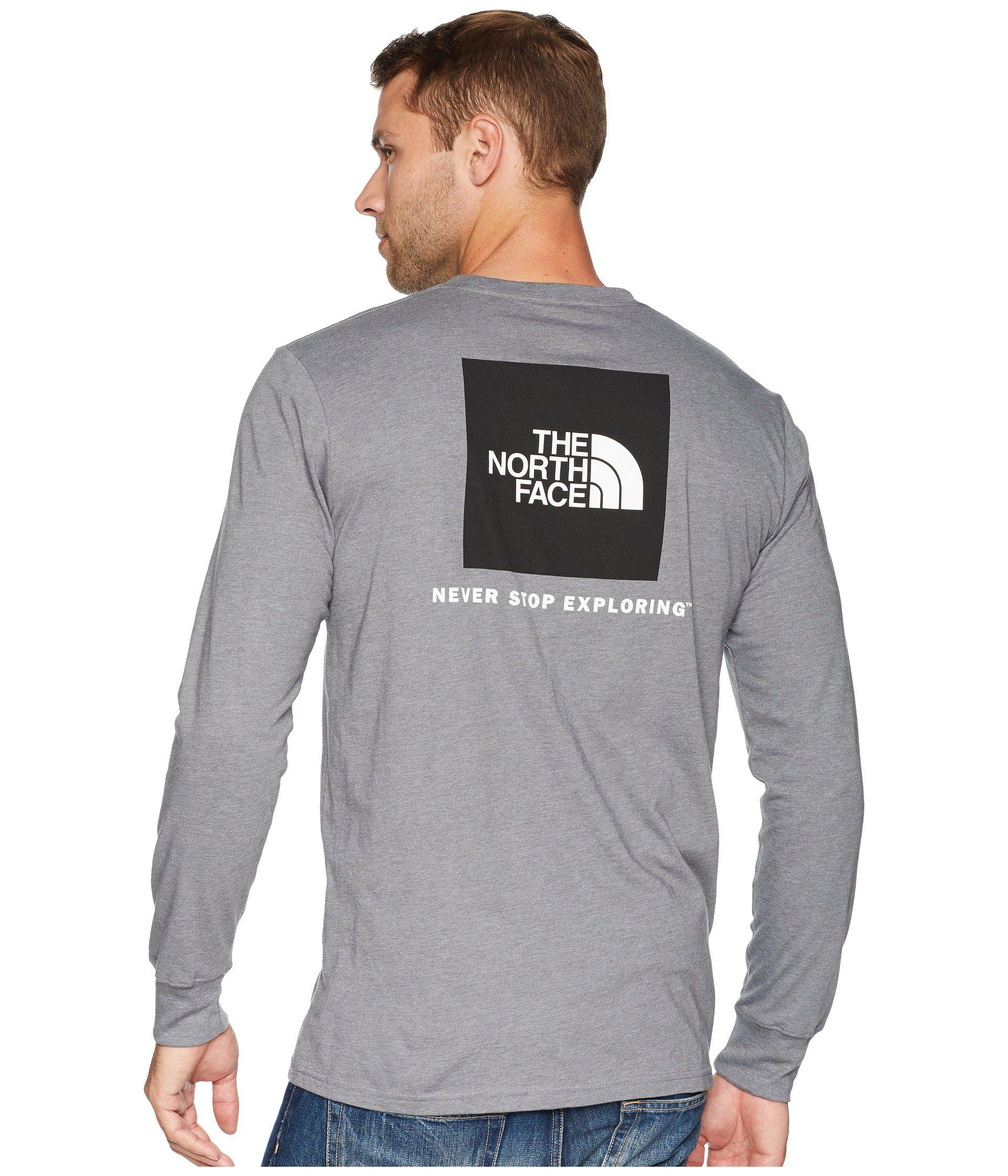 The North Face Men/'s Long Sleeve Red Box Tee