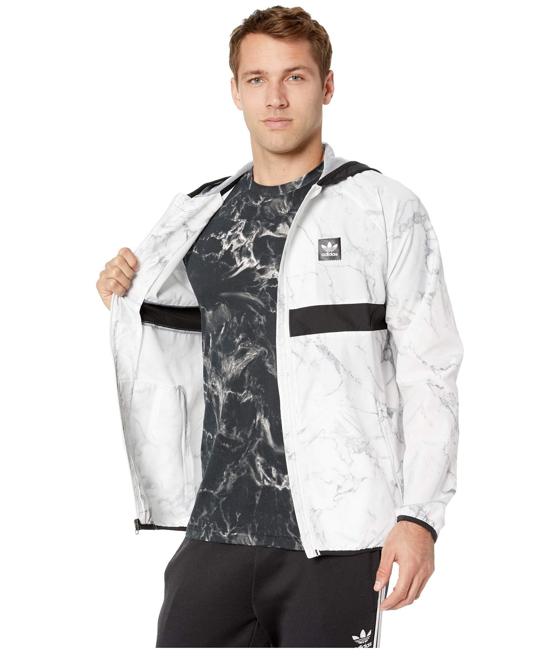 ef41b9238f Adidas Originals Gray Marble Bb Packable Jacket (white/dgh Solid  Grey/charcoal Solid Grey/black) Men's Coat for men