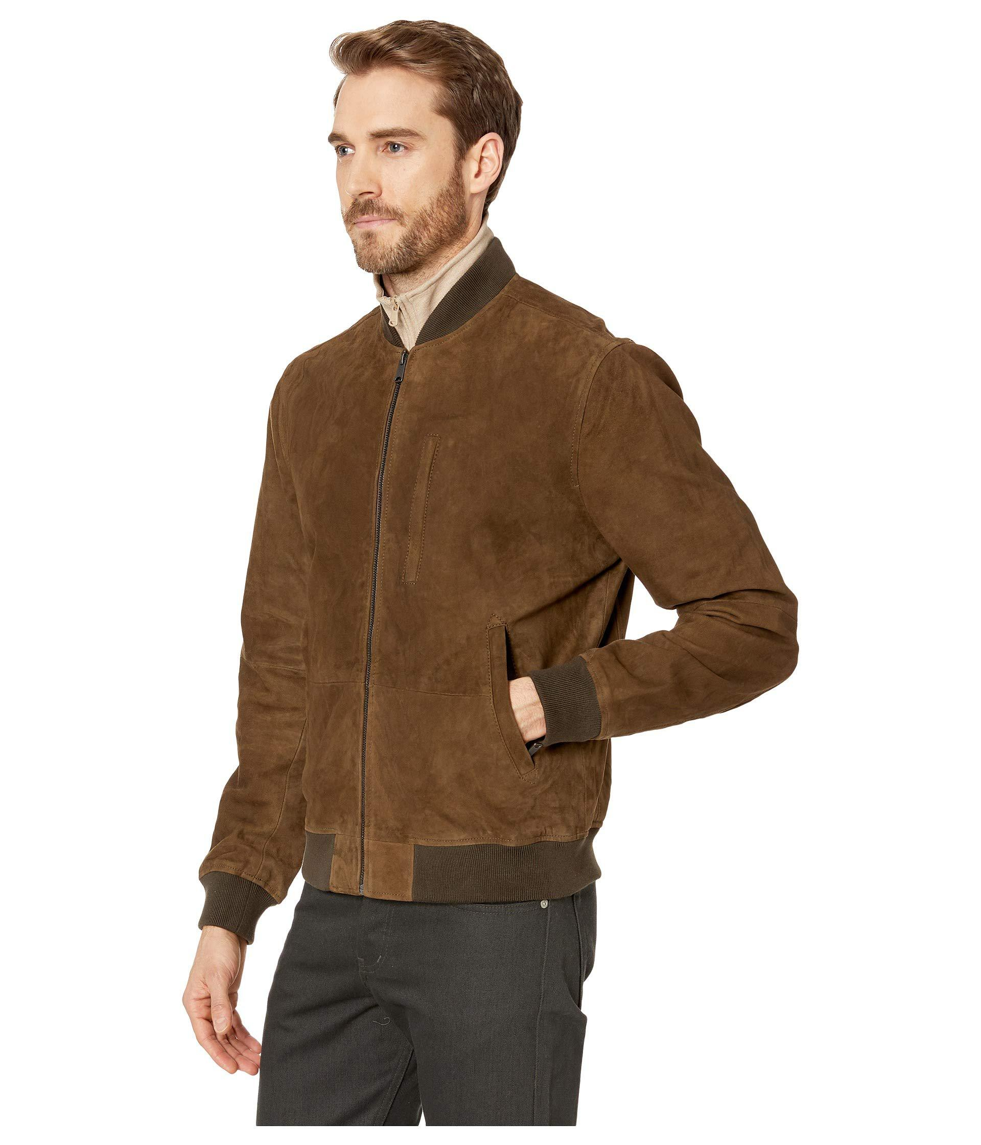 d4d4574b2 Lucky Brand Green Suede Leather Bomber Jacket (dark Olive) Coat for men