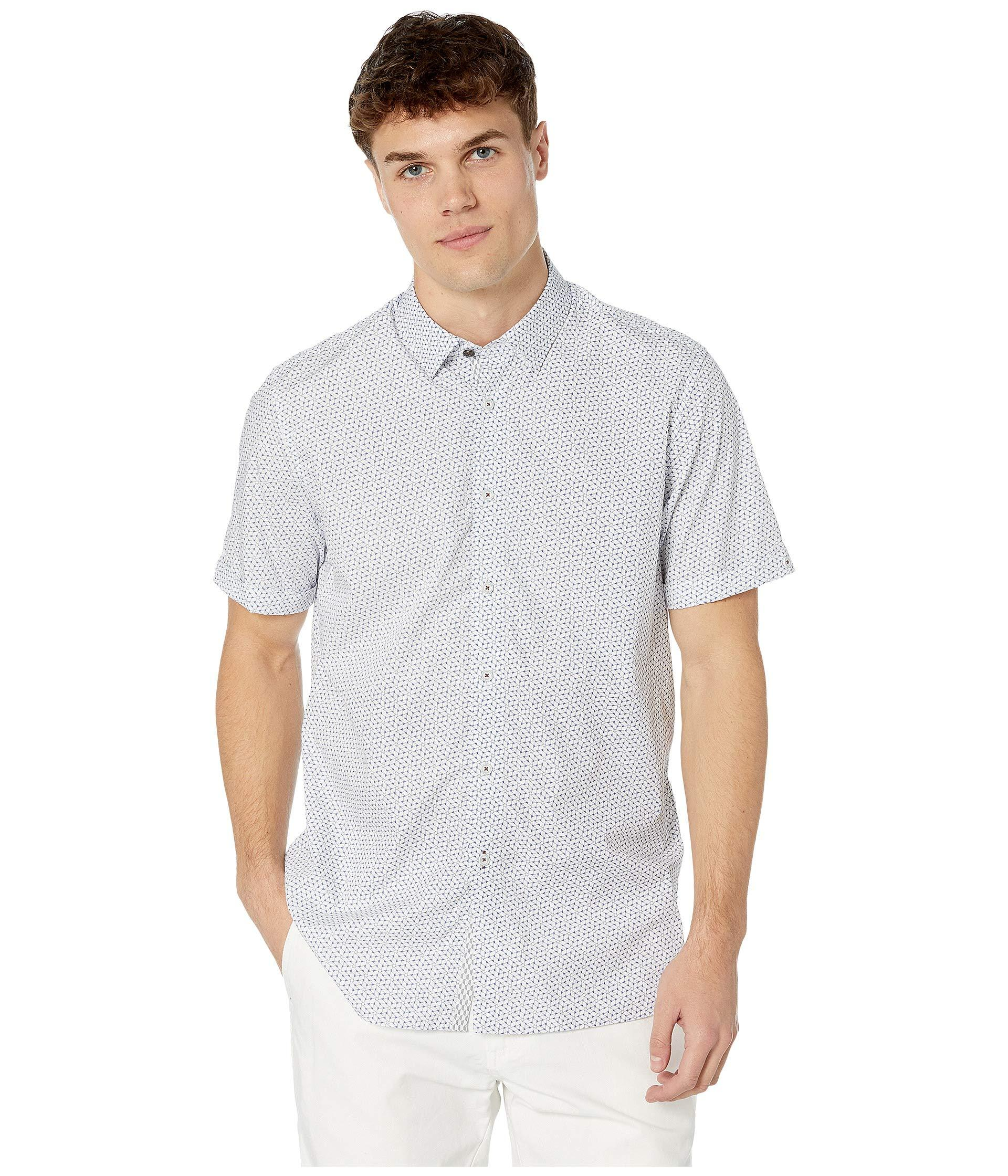 6cab1944b Ted Baker. Rakoon Short Sleeve Rectangle Geo Shirt (blue) Men s Clothing