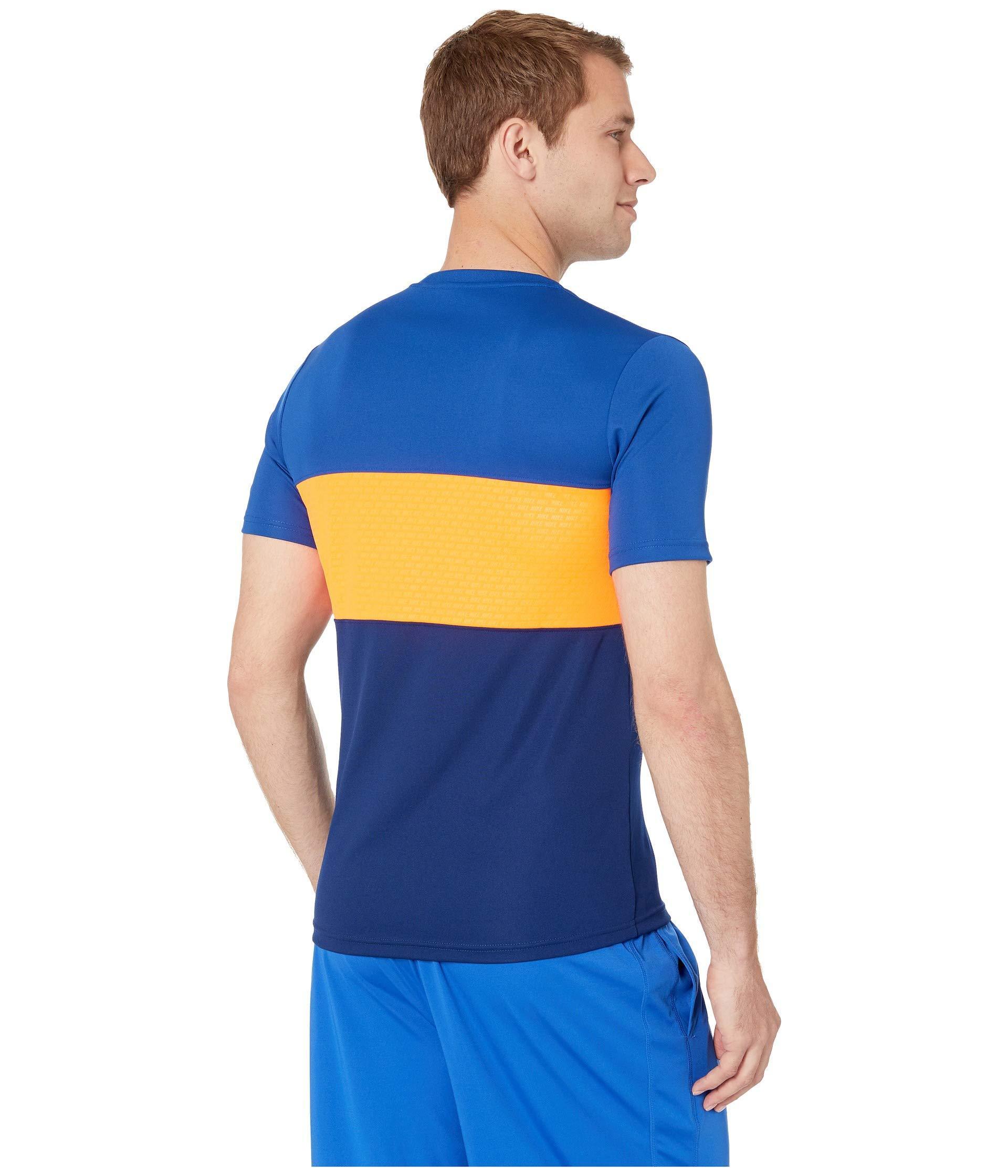 Dry Academy Top Short Sleeve Graphics (indigo Forceblue Voidtotal Orange) Men's Clothing