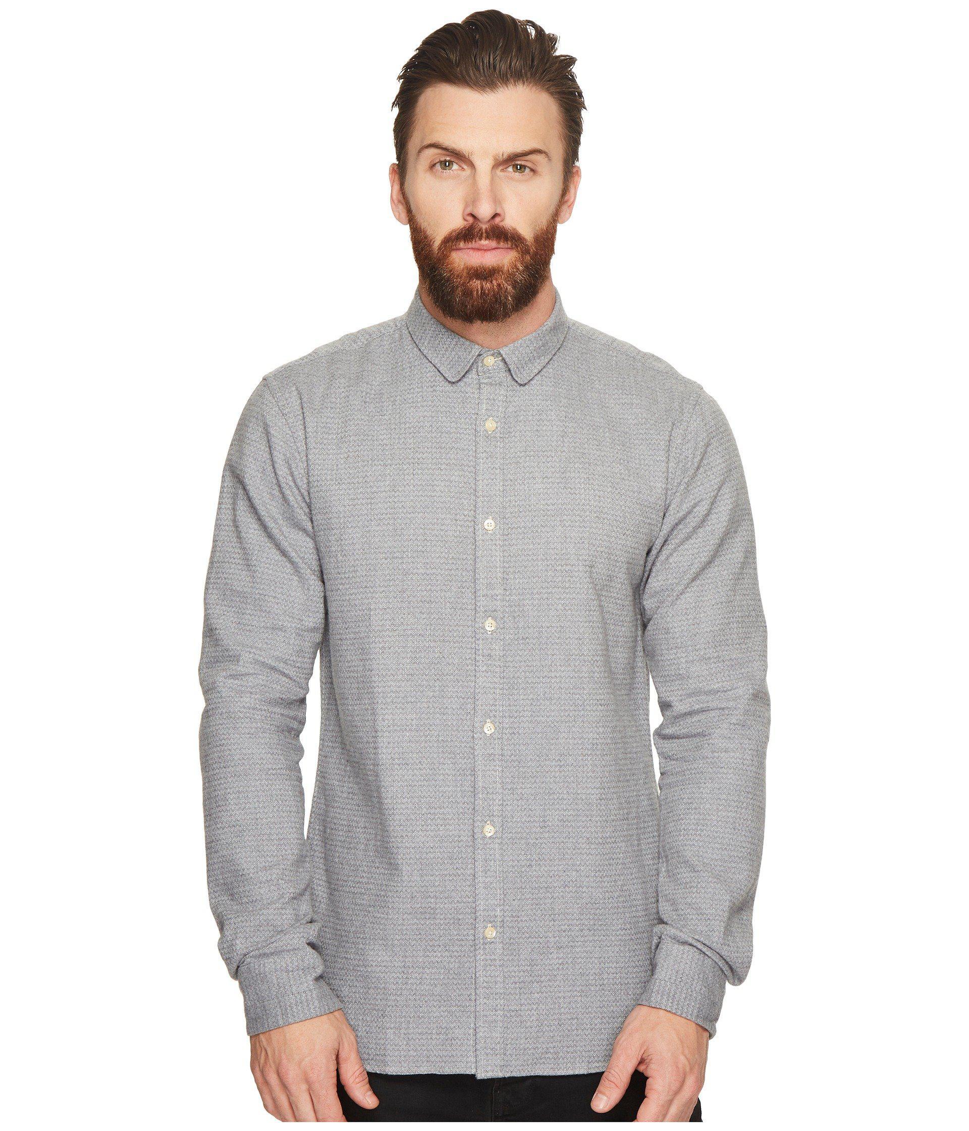 Scotch /& Soda Dobby Pattern Stretch Long Sleeve Shirt