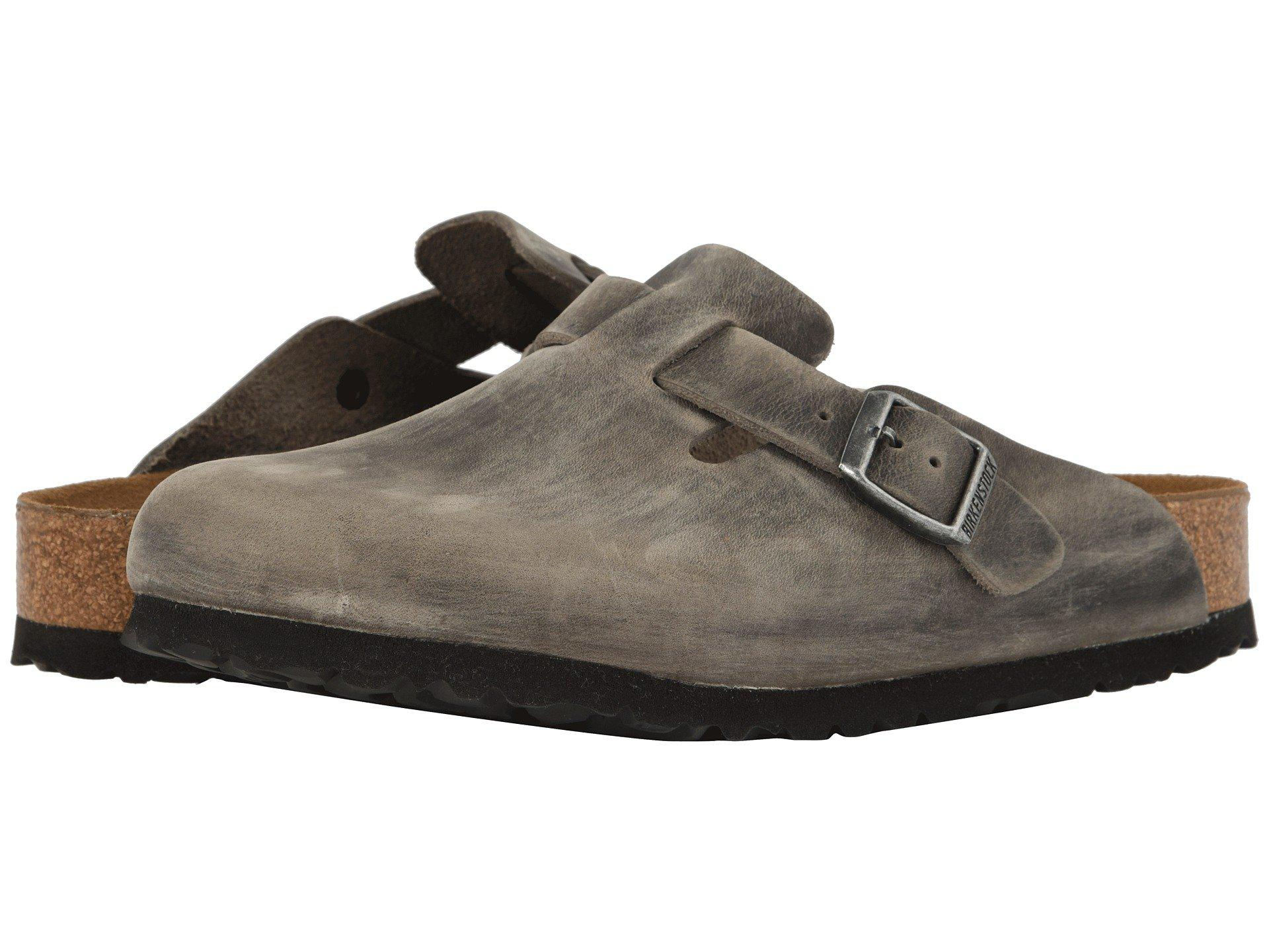 d8d88b775c5e Birkenstock. Women s Boston Soft Footbed (iron Oiled Leather) Clog Shoes