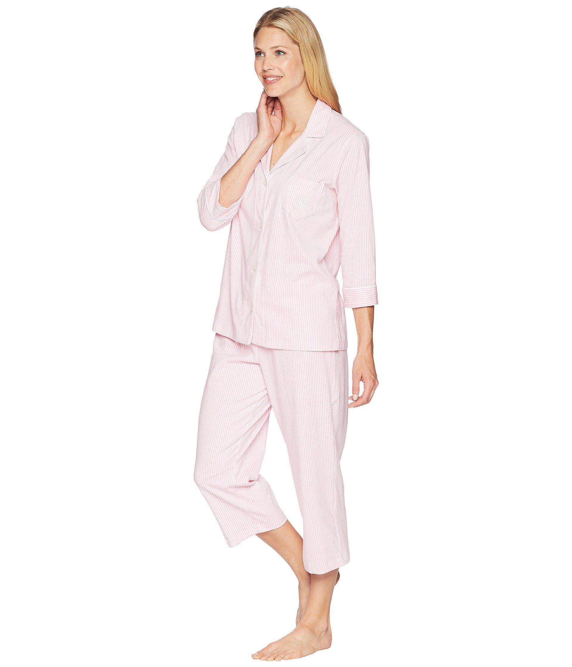 73d293c3be Lyst - Lauren by Ralph Lauren Essentials Bingham Knits Capri Pj Set (blue  Paisley) Women s Pajama Sets in Pink